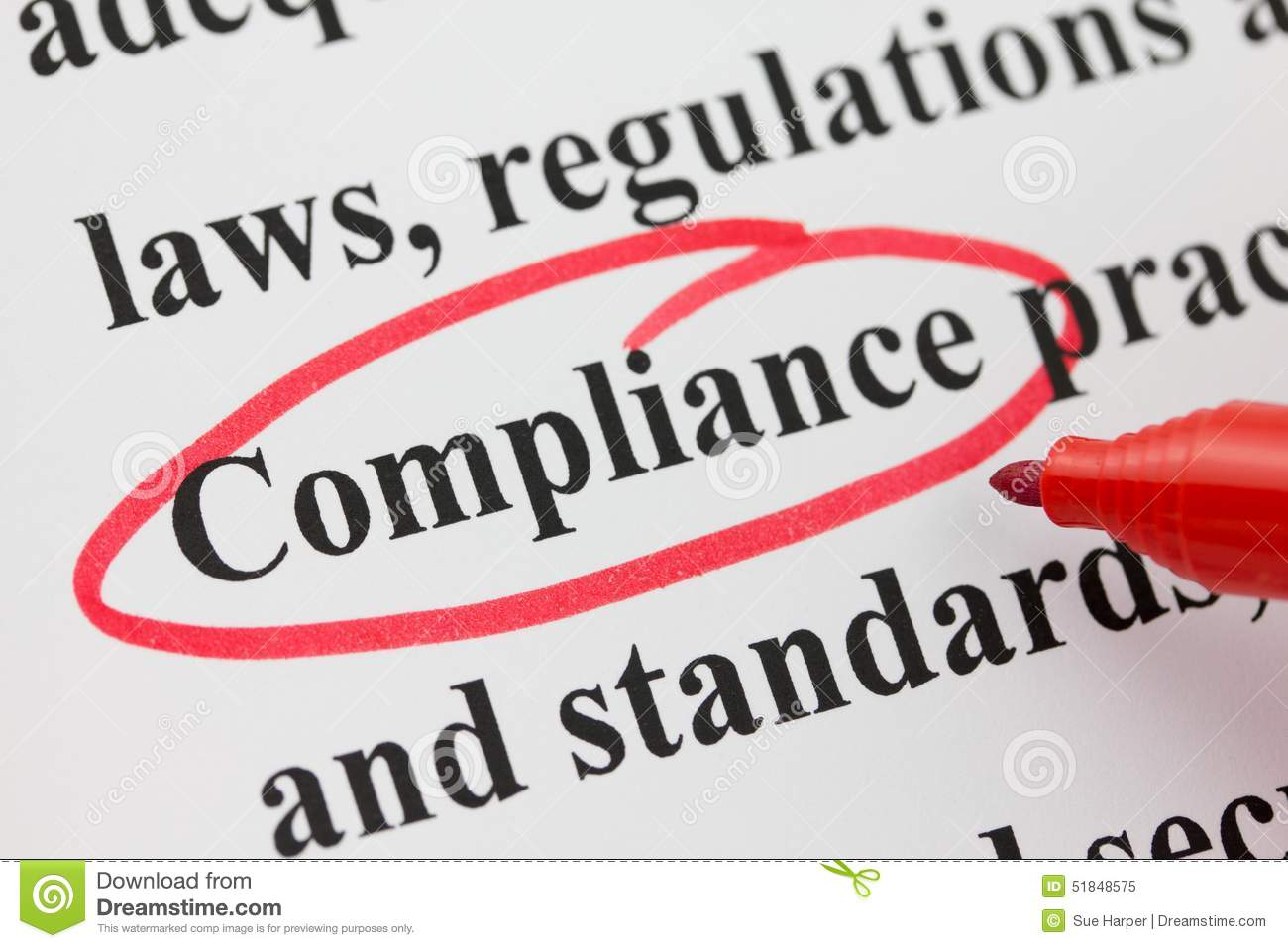 word compliance circled in red pen closeup stock image image of