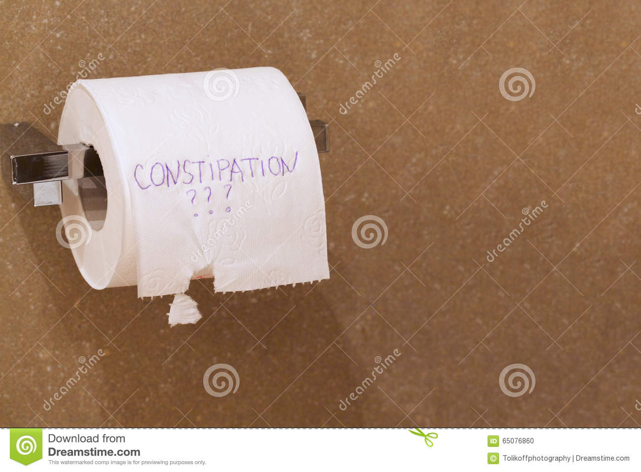 The Word Constipation Written On A Tolet Paper Stock Photo