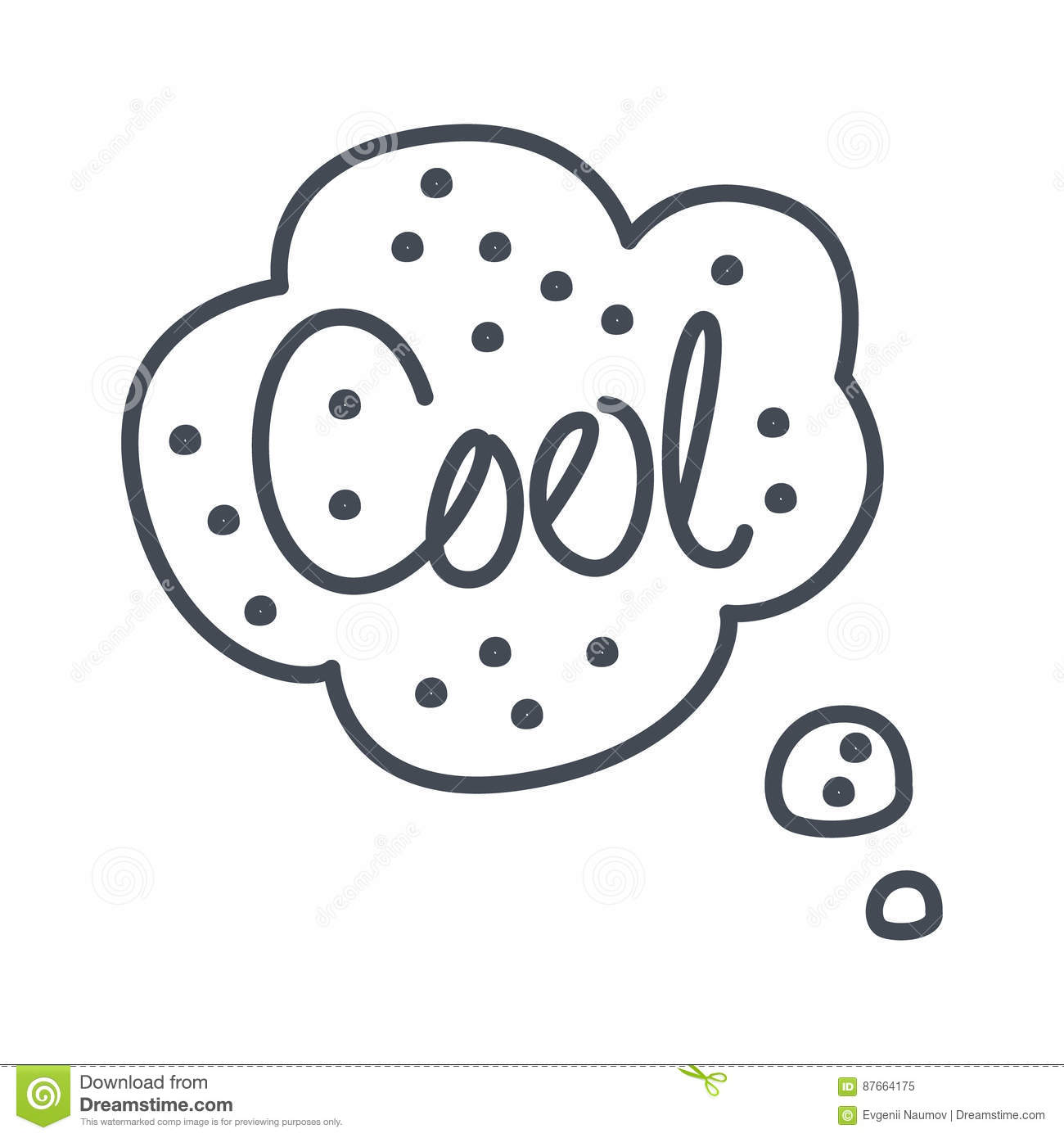 word cool hand drawn comic speech bubble template isolated black