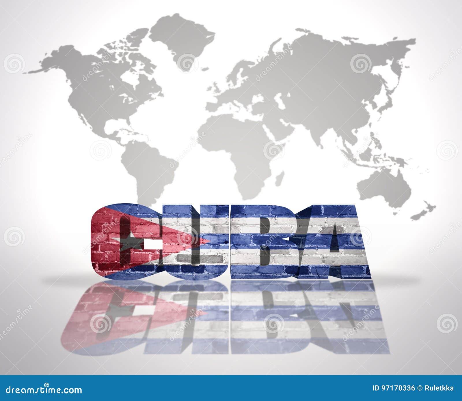 Carte Cuba Amerique.Word Cuba Sur Un Fond De Carte Du Monde Illustration Stock