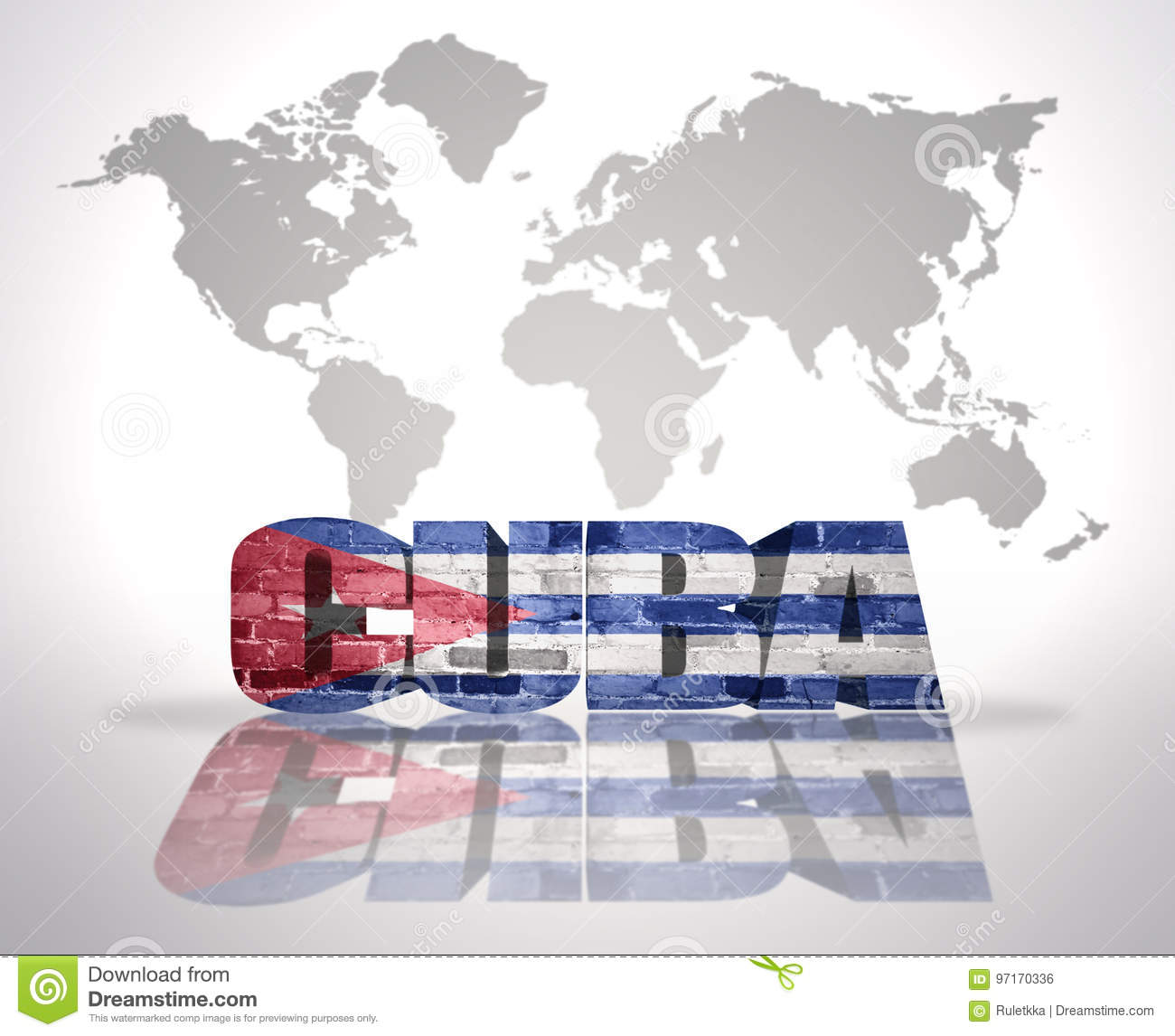 Word Cuba On A World Map Background Stock Illustration ...