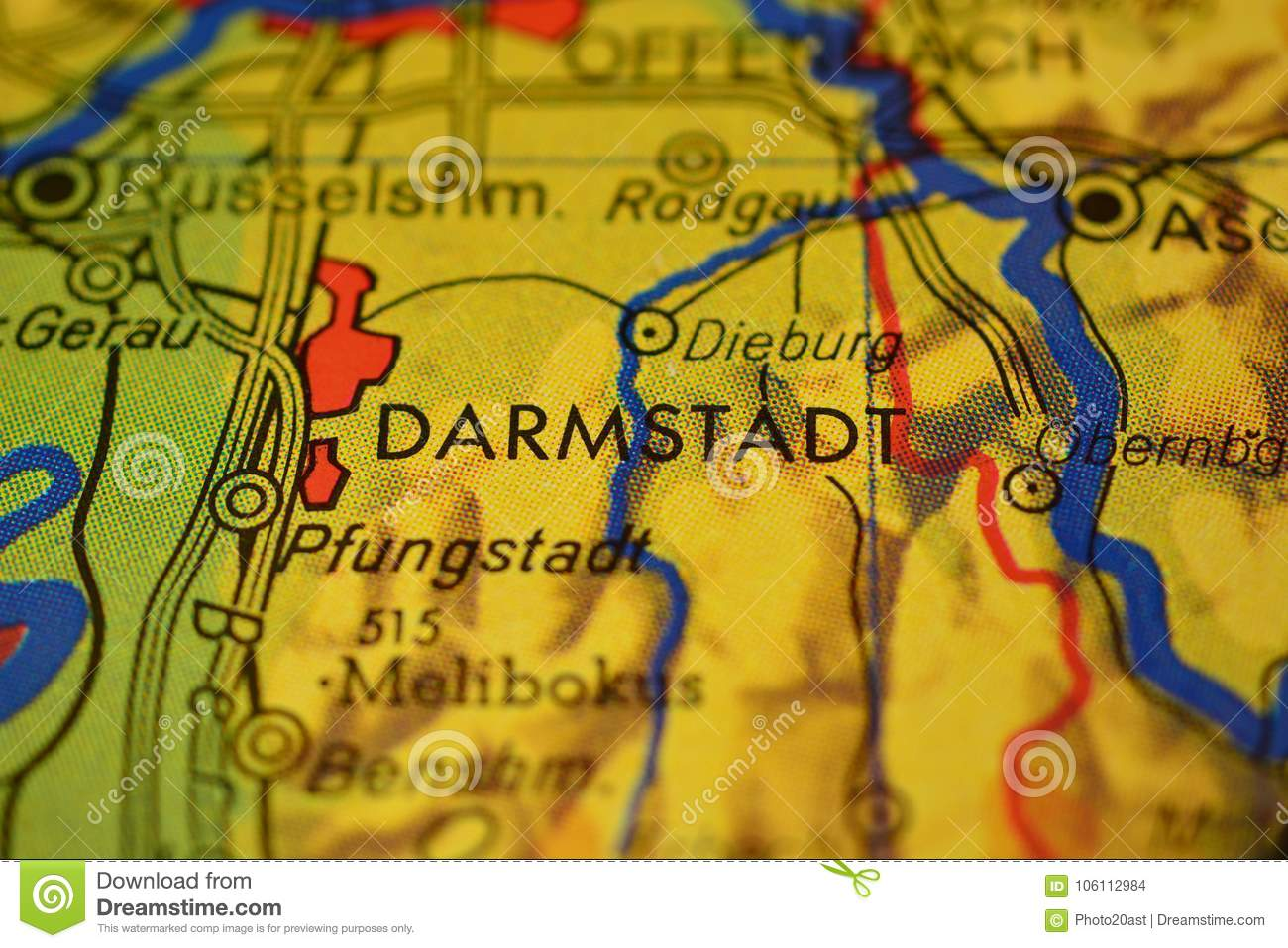 The Word Darmstadt On The Map Stock Photo Image Of Close Stock