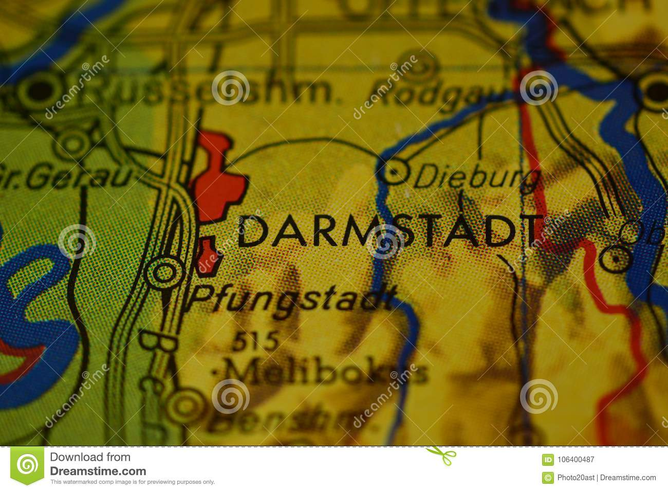 The Word Darmstadt On The Map Stock Image Image Of Detail Royalty