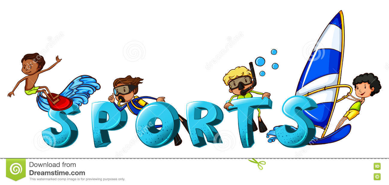 Word Design For The Word Sports Stock Vector - Illustration of font