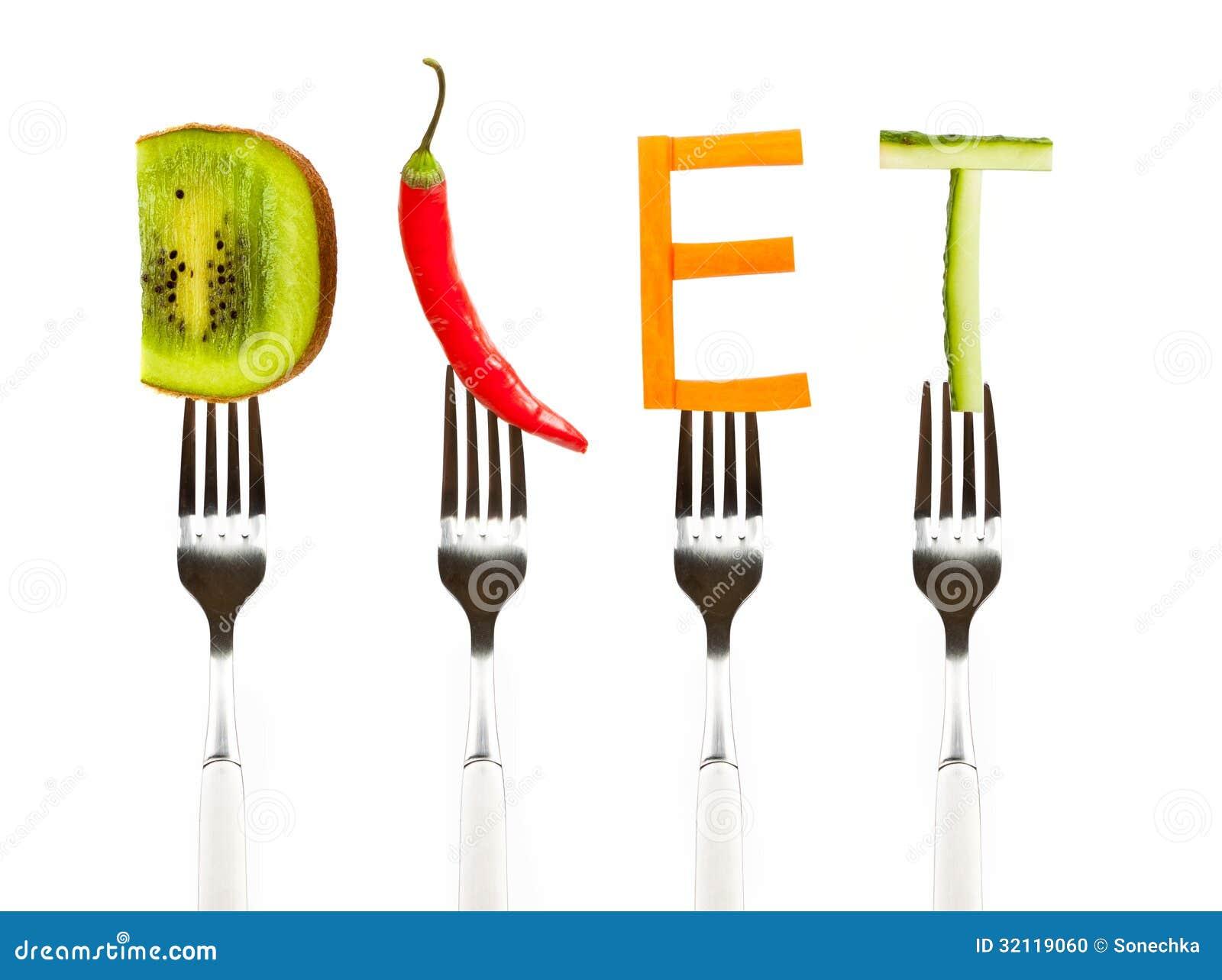 Word diet made of fresh tasty vegetables on forks