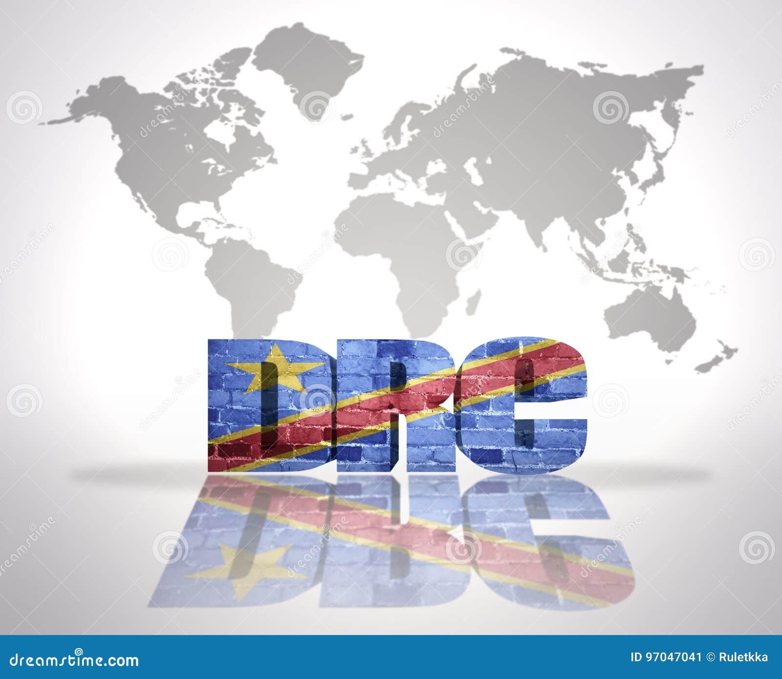 Democratic World Map.Word Drc On A World Map Background Stock Illustration Illustration