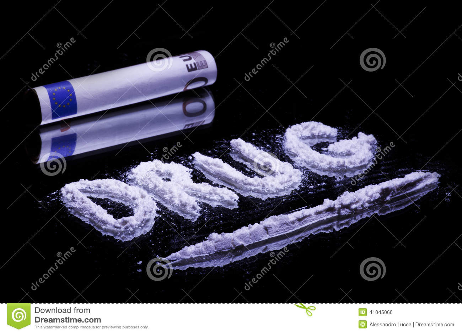 Word Drug Cocaine Powder And 50 Euro Stock Photo Image