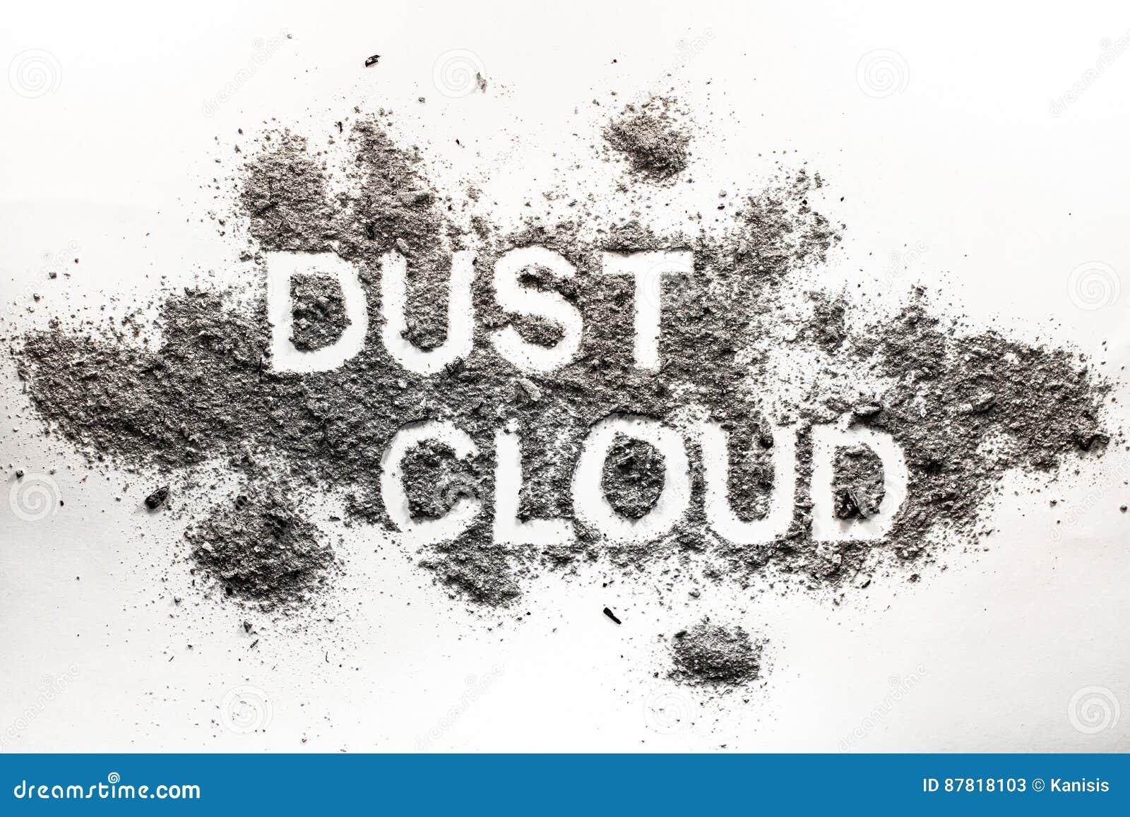 Word dust cloud written in accumulated dust, filth, dirt, ash, s