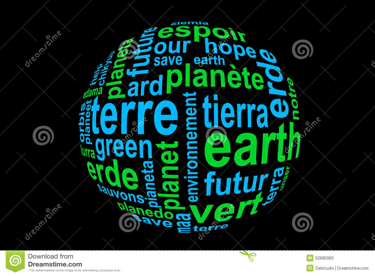 Word earth translated in many languages blue and green for Green in different languages