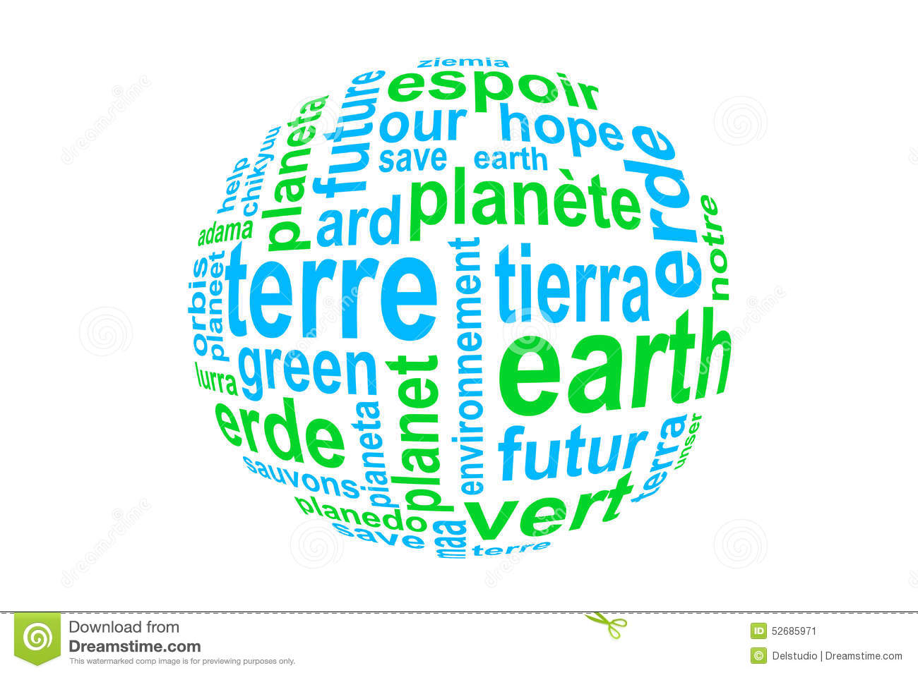 Word Earth Translated In Many Languages Blue And Green On White - Languages on earth