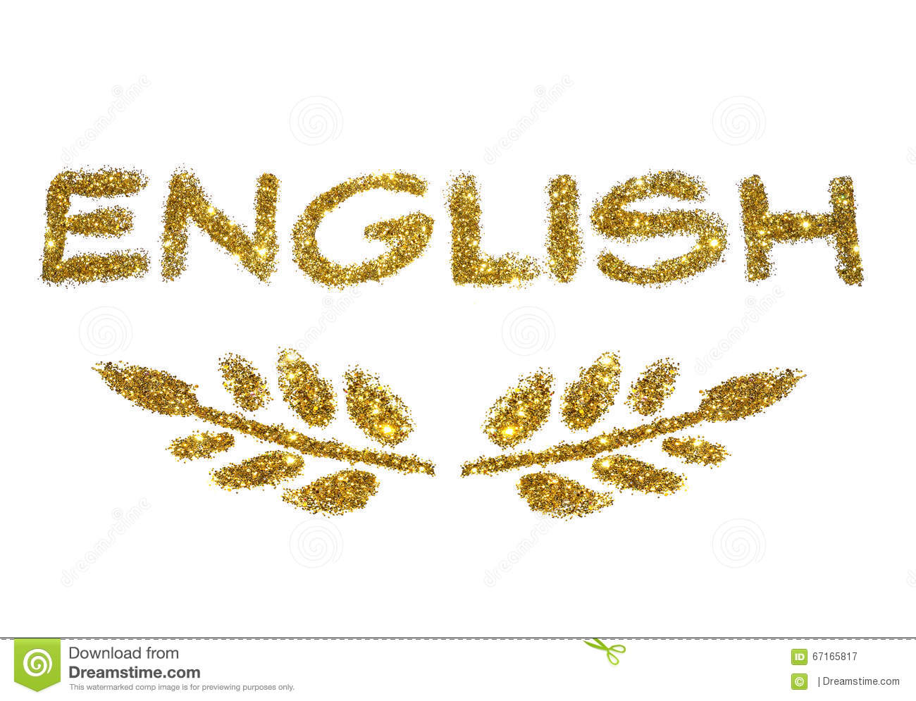 Word English And Two Twigs With Leaves Of Golden Glitter ...