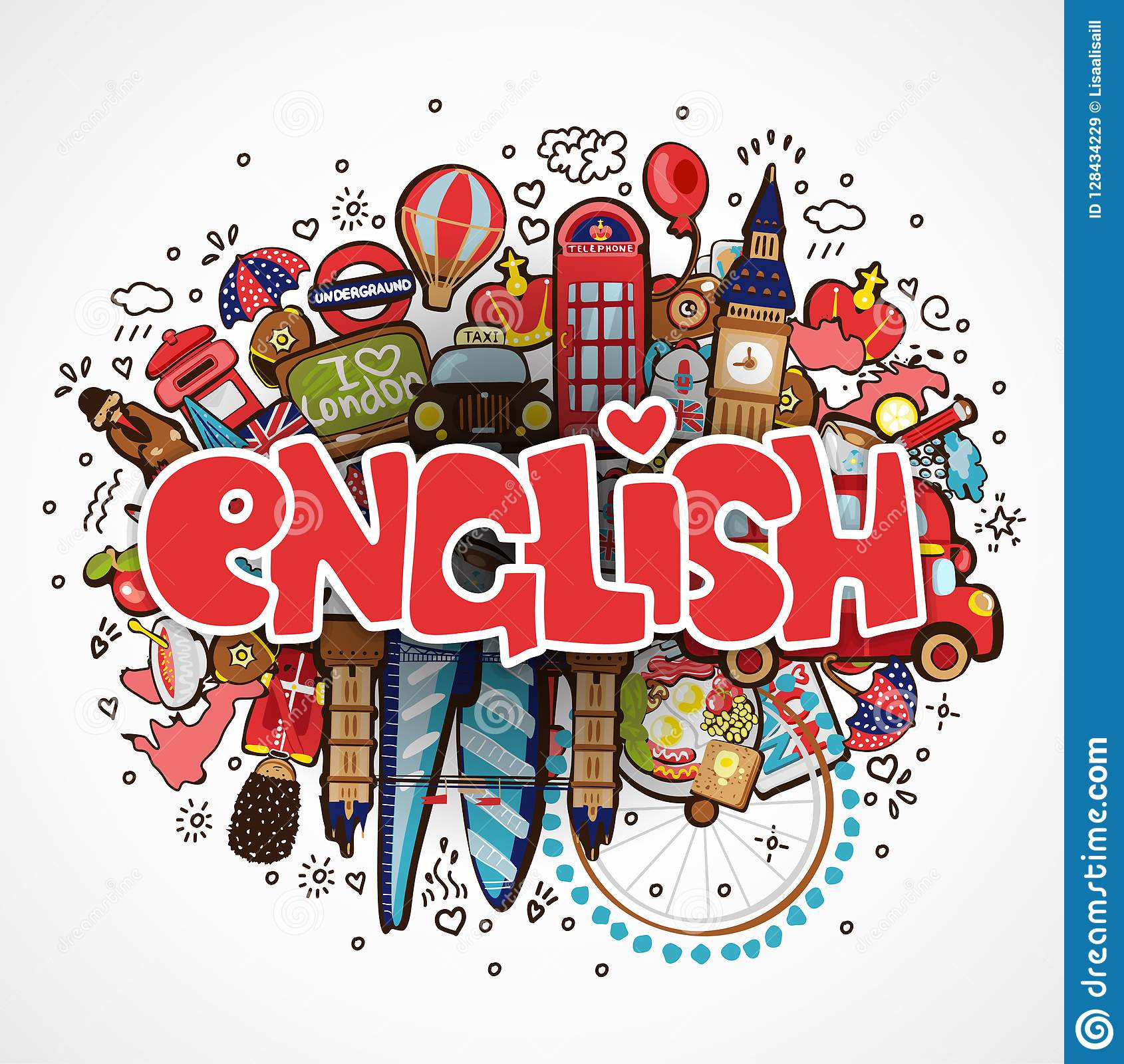 Word ENGLISH White Background With England Elements And Objects Educational And Travelling