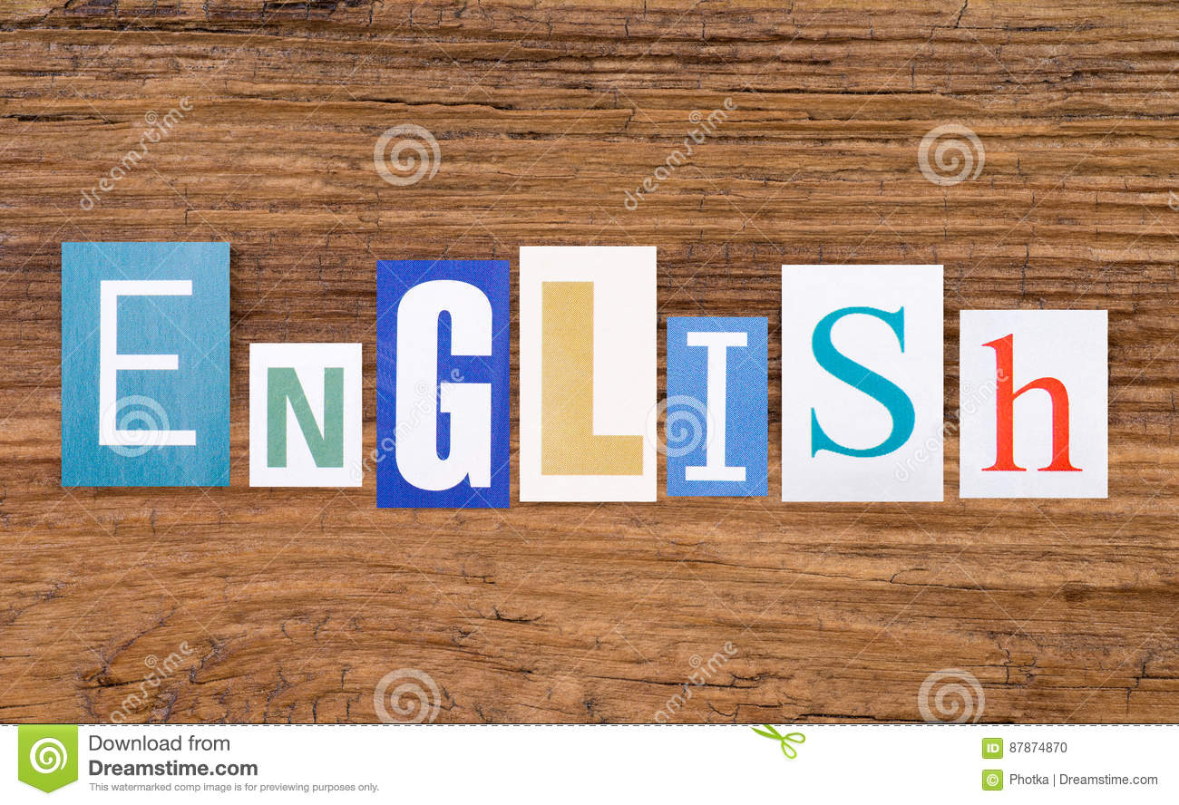 Word `English` On Wooden Background Stock Photo - Image of ...