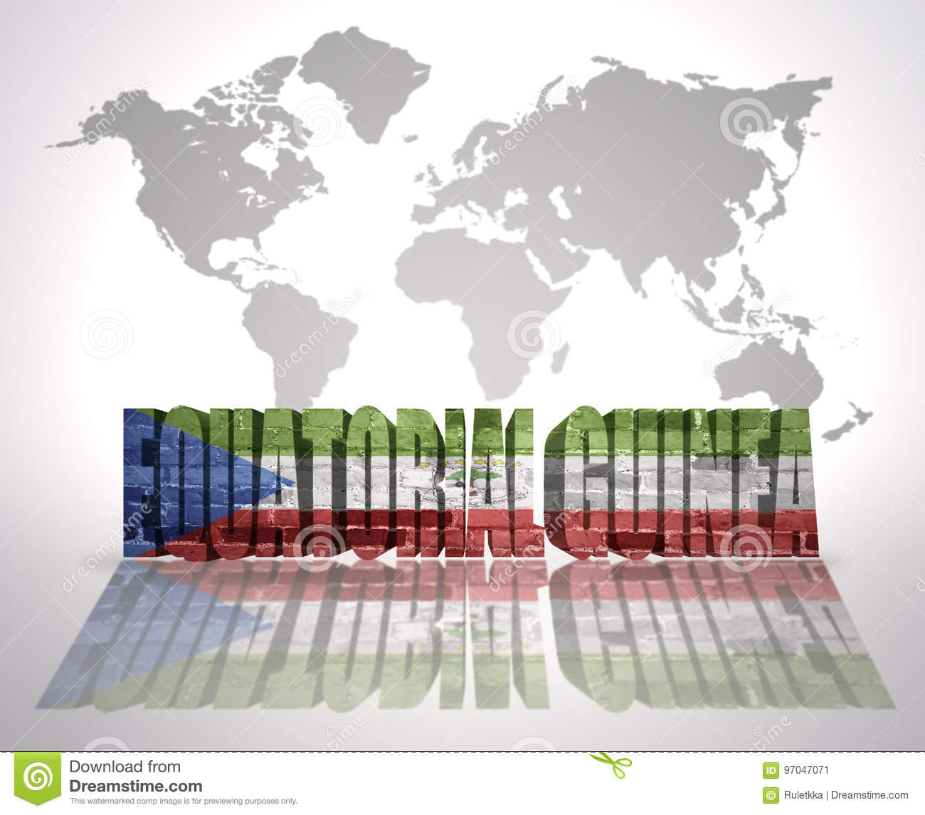 Word Equatorial Guinea On A World Map Background Stock Illustration ...