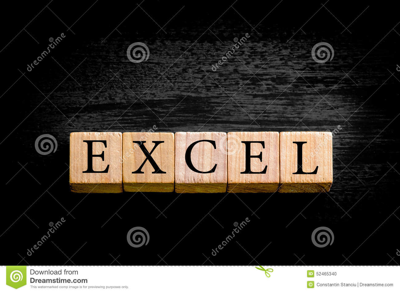 Word EXCEL Isolated On Black Background With Copy Space Stock