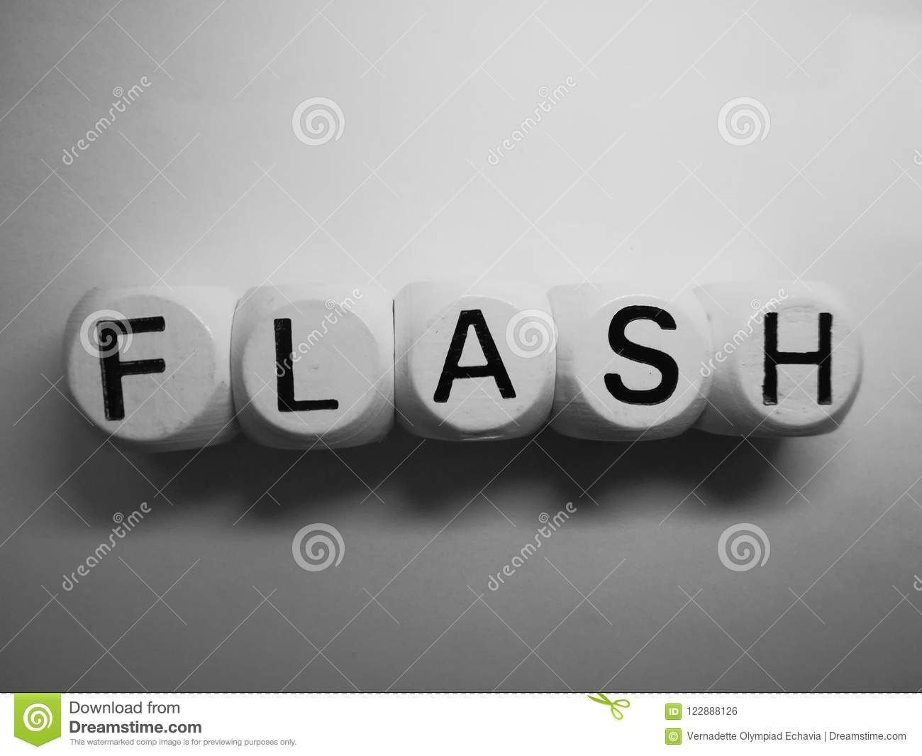 word flash on wooden dice stock photo image of sign 122888126