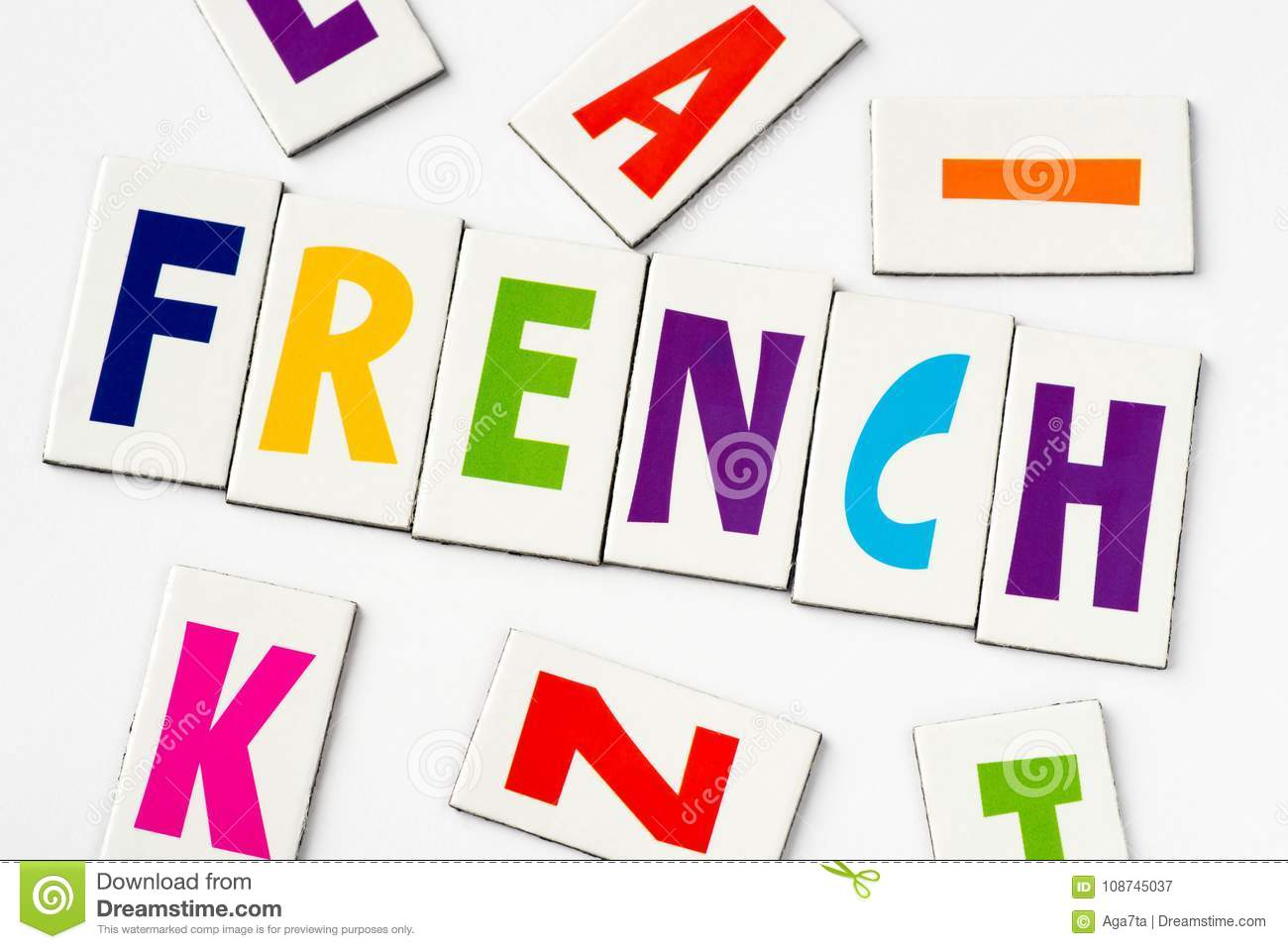 Word French Made Of Colorful Letters Stock Image Image Of Font