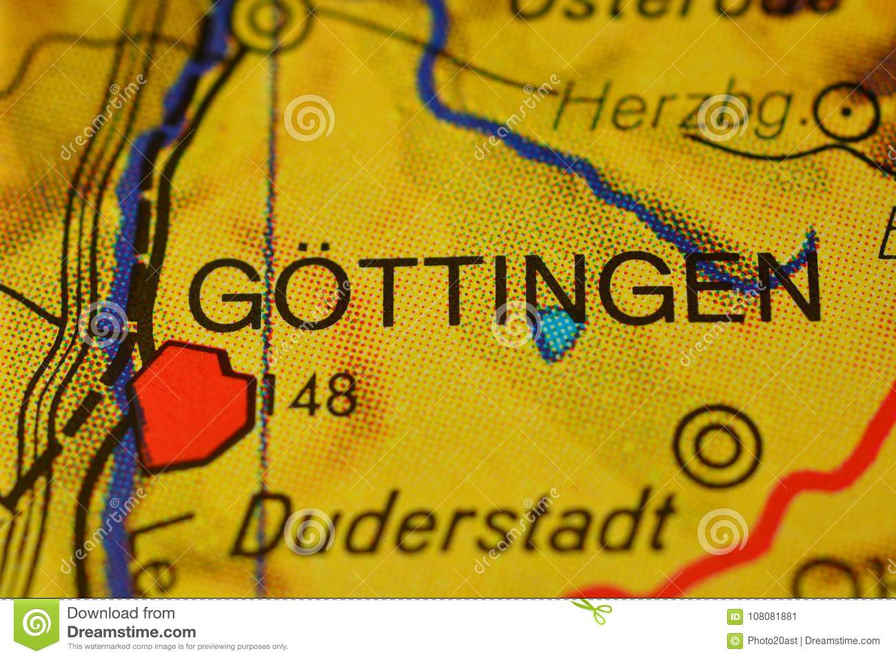 Map Of Germany Gottingen.The Word Gottingen On The Map Stock Image Image Of City Places