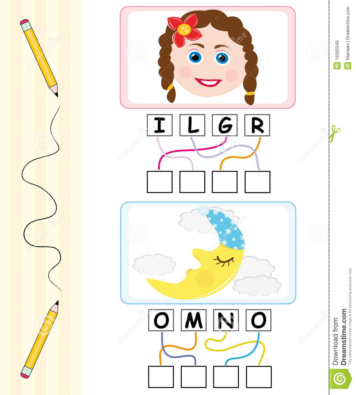 Word Game For Kids Girl amp Moon Royalty Free Stock Images Image