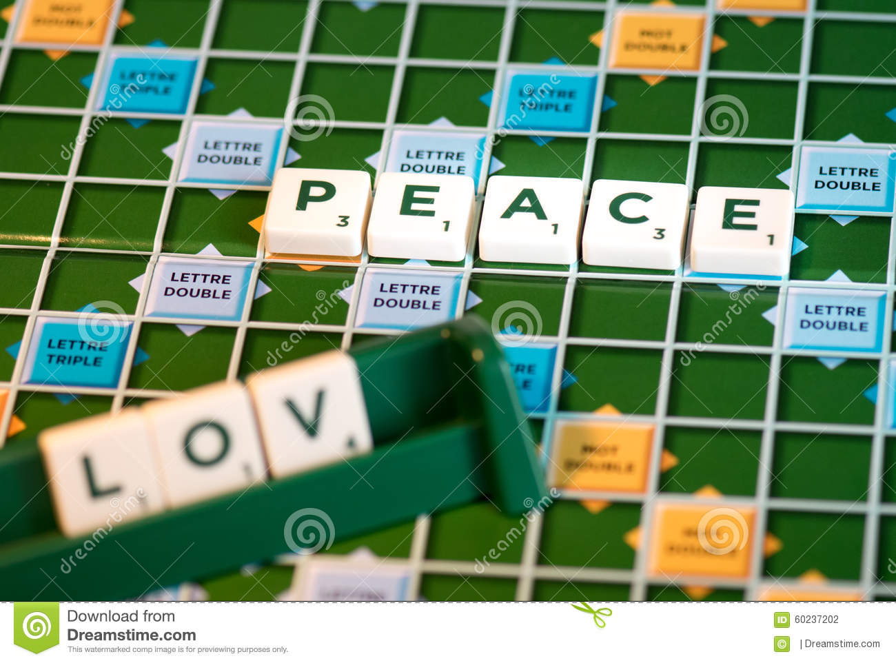 Download Word Game Scrabble Peace And Love Stock Photo Image Of Leisure