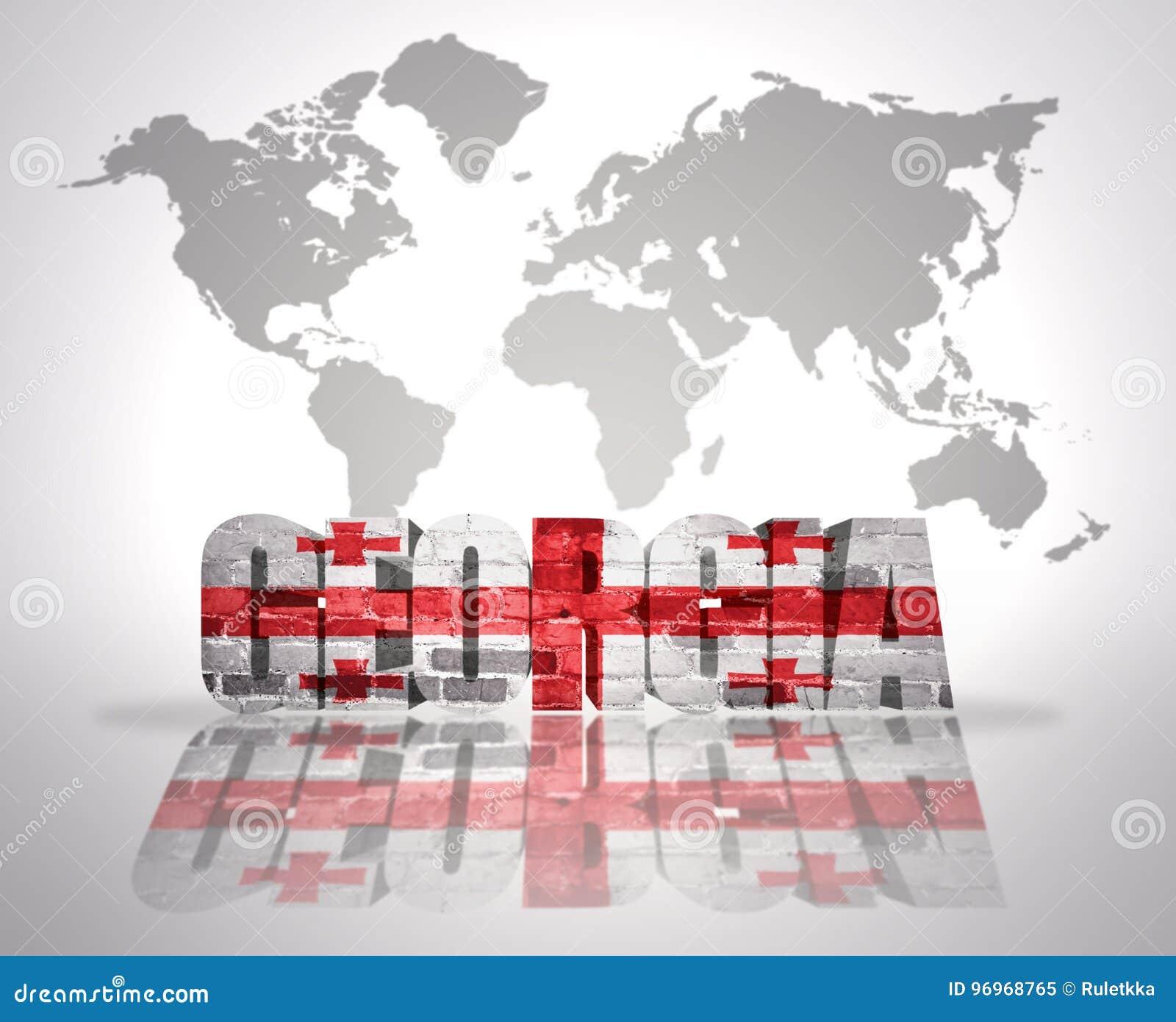 Word Georgia On A World Map Background Stock Illustration
