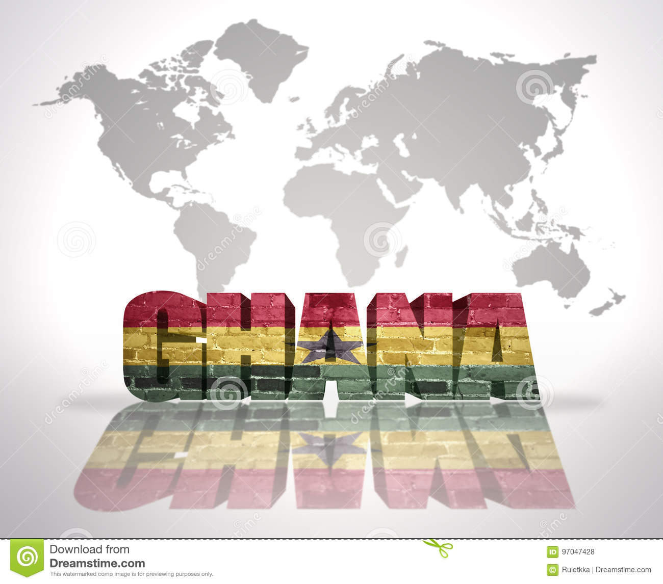 Ghana On A World Map.Word Ghana On A World Map Background Stock Illustration