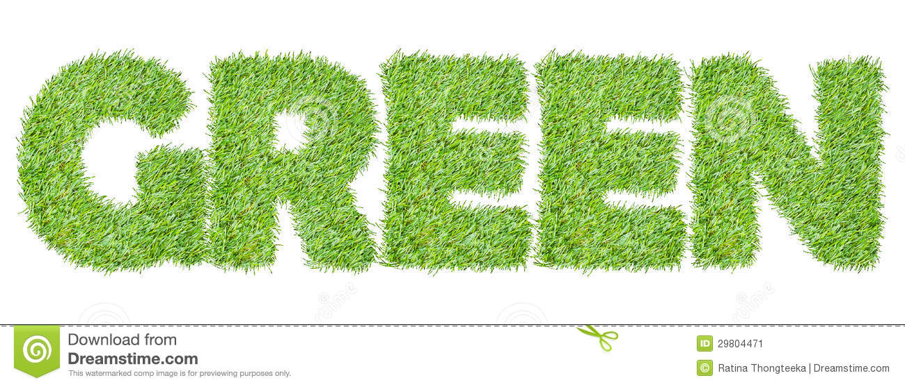 the word green from the green grass