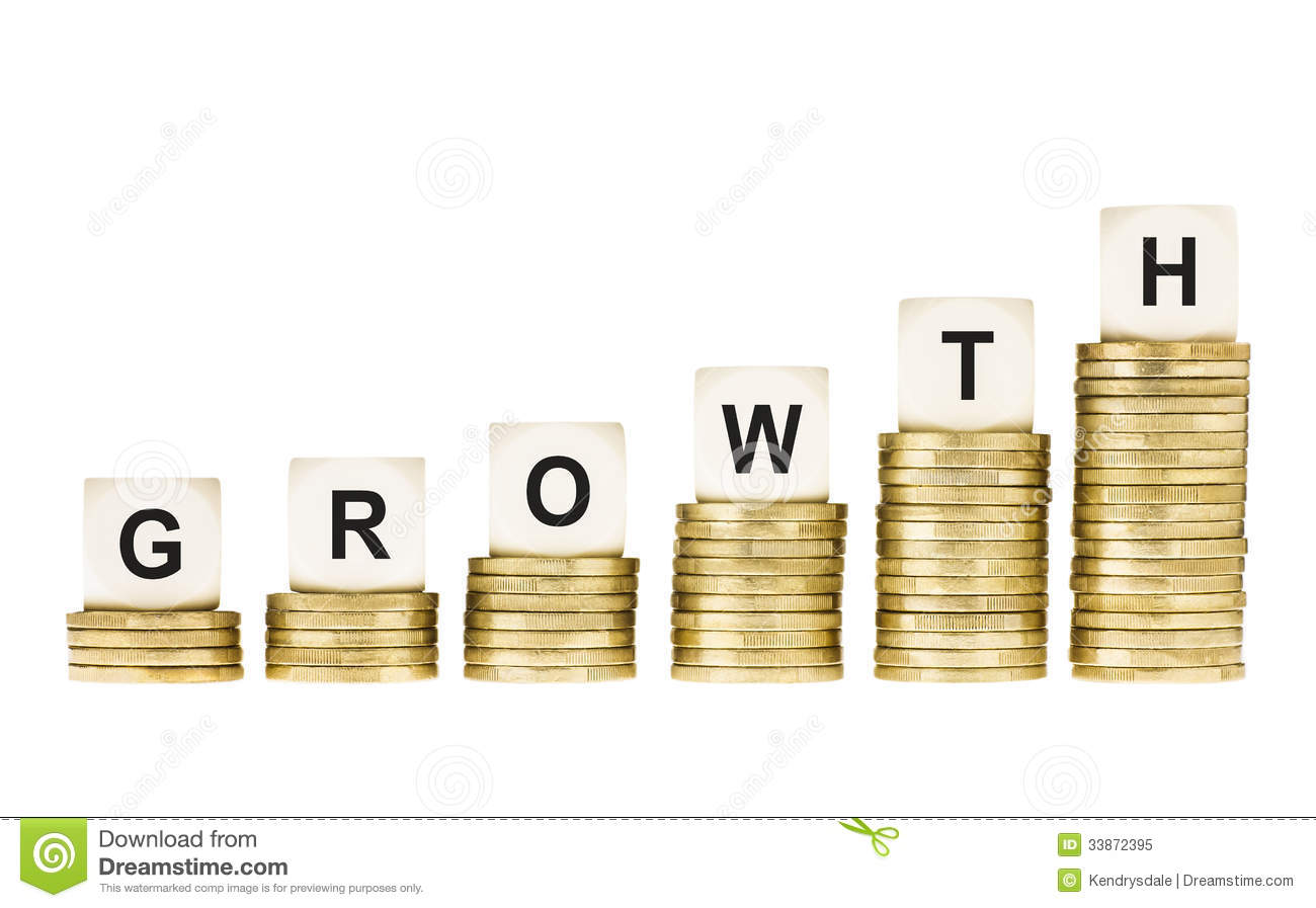 Word Growth On Row Of Gold Coin Stacks Isolated White Stock Image