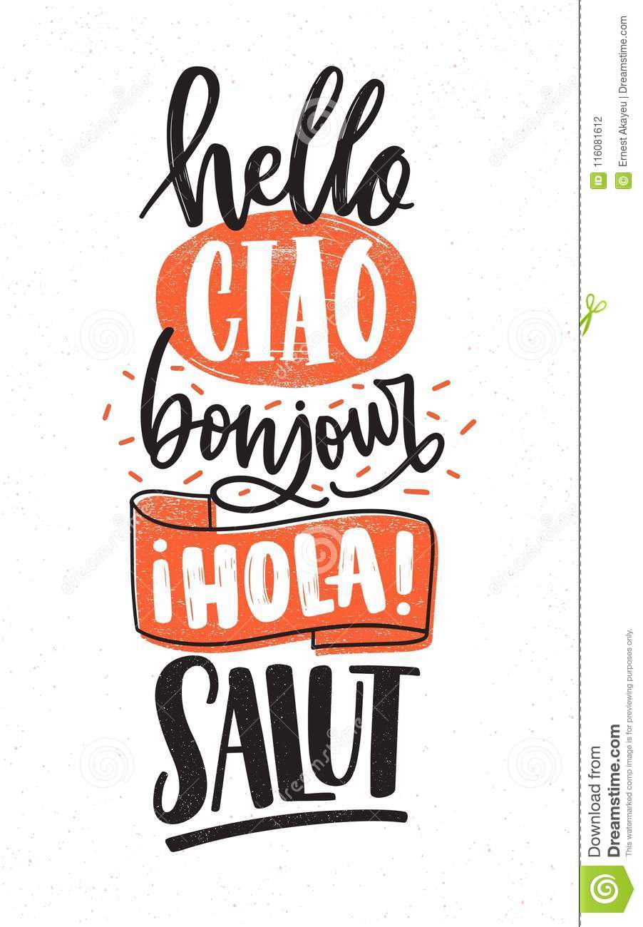 Word Hello In Different Languages English French Spanish