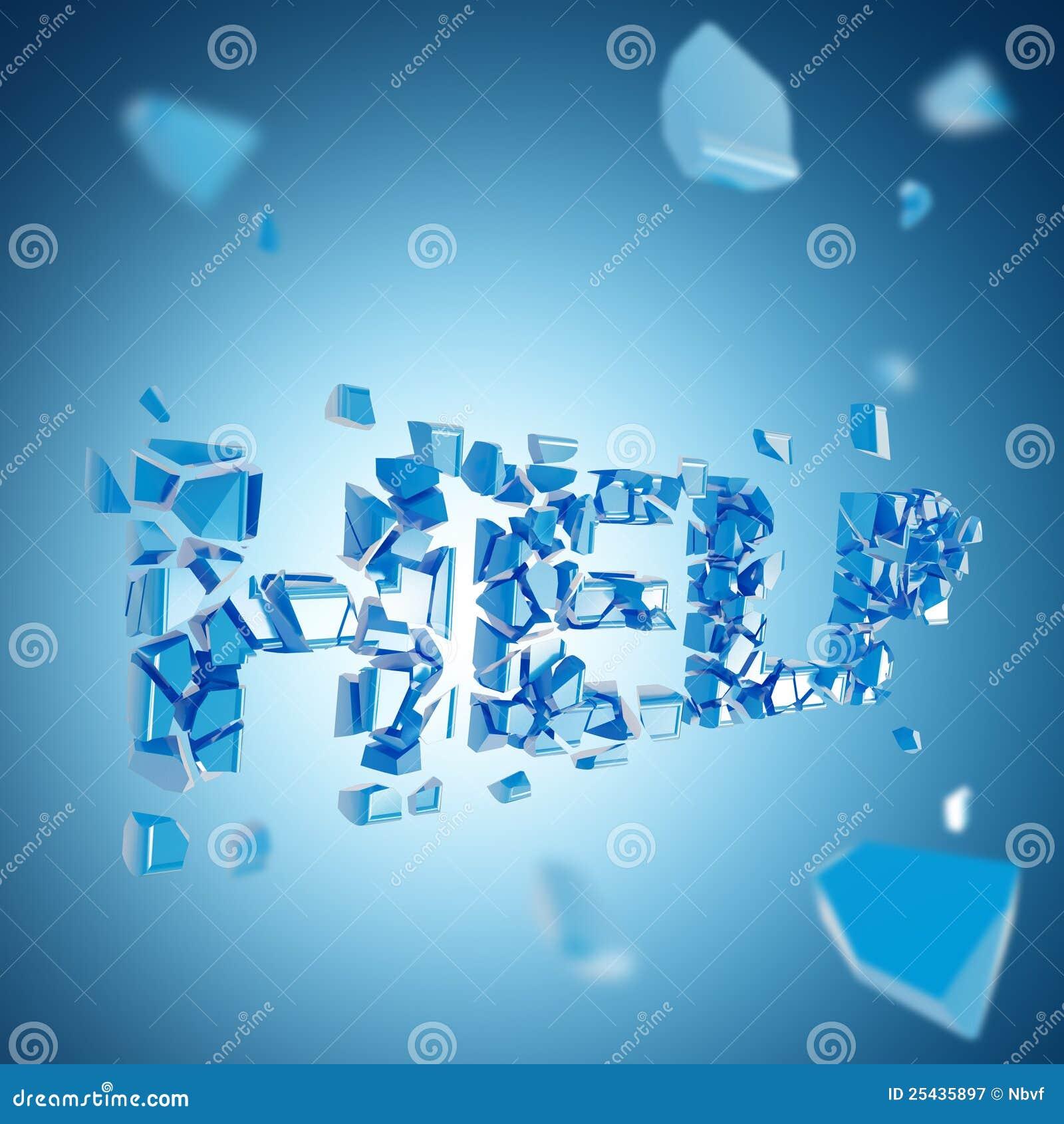 word help broken into pieces background stock illustration