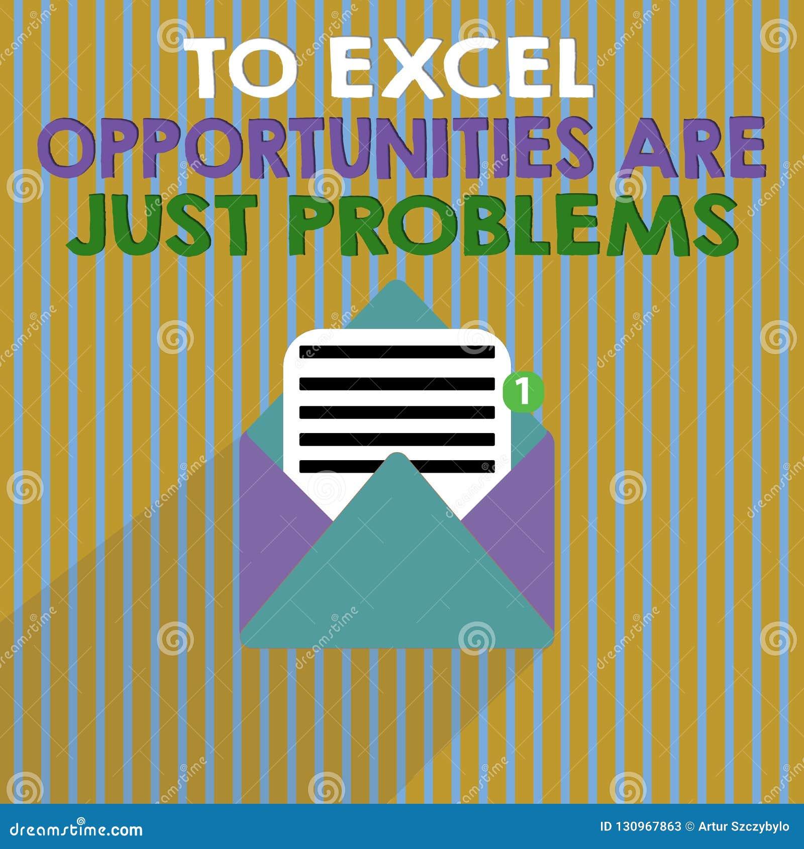 Word het schrijven de tekst aan Excel-Kansen is enkel Problemen Bedrijfsconcept voor de Vrees van de Comfortstreek de buitenwerel
