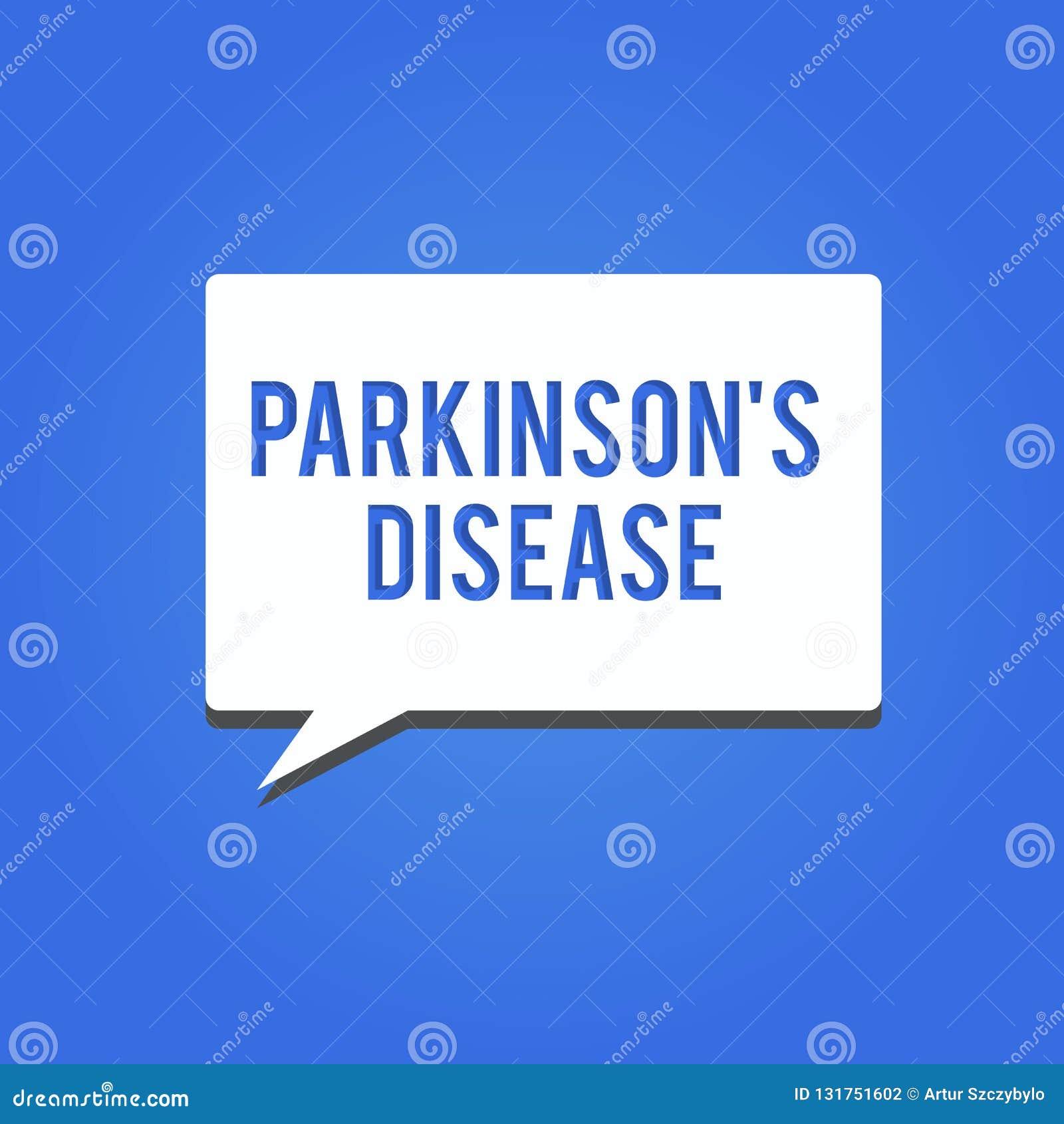 Word het schrijven de tekst Parkinson s is Ziekte Bedrijfsconcept voor zenuwstelselwanorde die beweging beïnvloedt