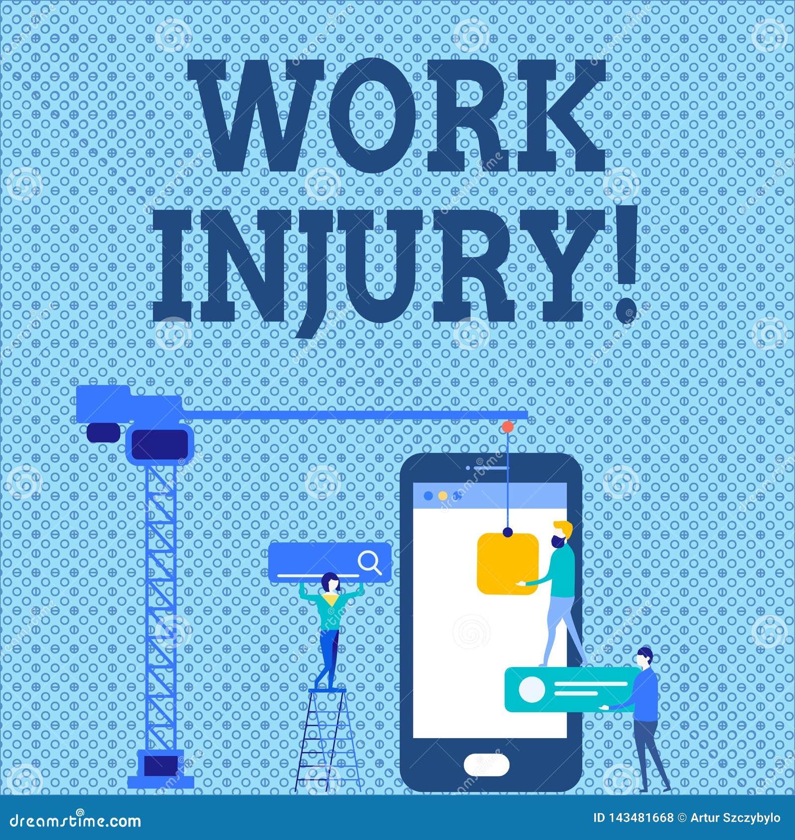 Word het schrijven de Verwonding van het tekstwerk Bedrijfsconcept voor ongeval dat zich tijdens en als resultaat van het werk Pe