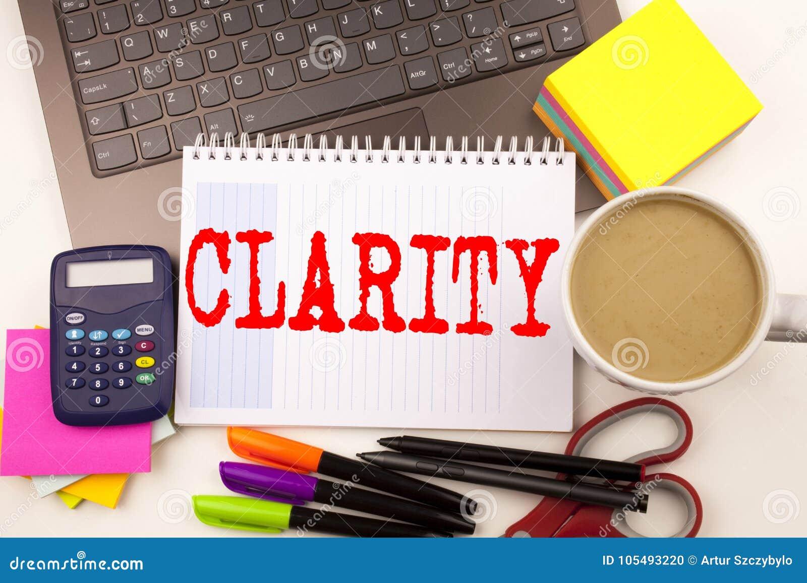 Word het schrijven Duidelijkheid in het bureau met laptop, teller, pen, kantoorbehoeften, koffie De Workshop van het bedrijfsconc