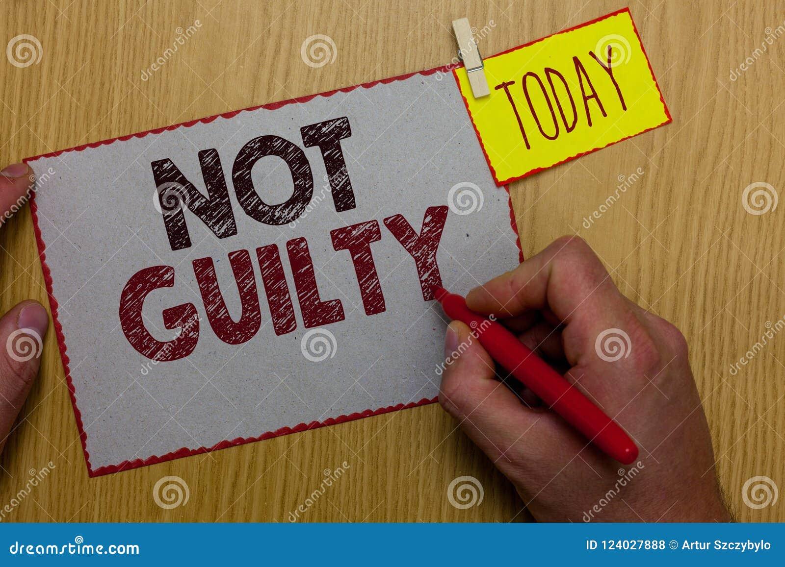Word het schrijven niet Schuldige tekst Het bedrijfsconcept voor iemand is onschuldig beging geen specifieke misdaad hij de telle