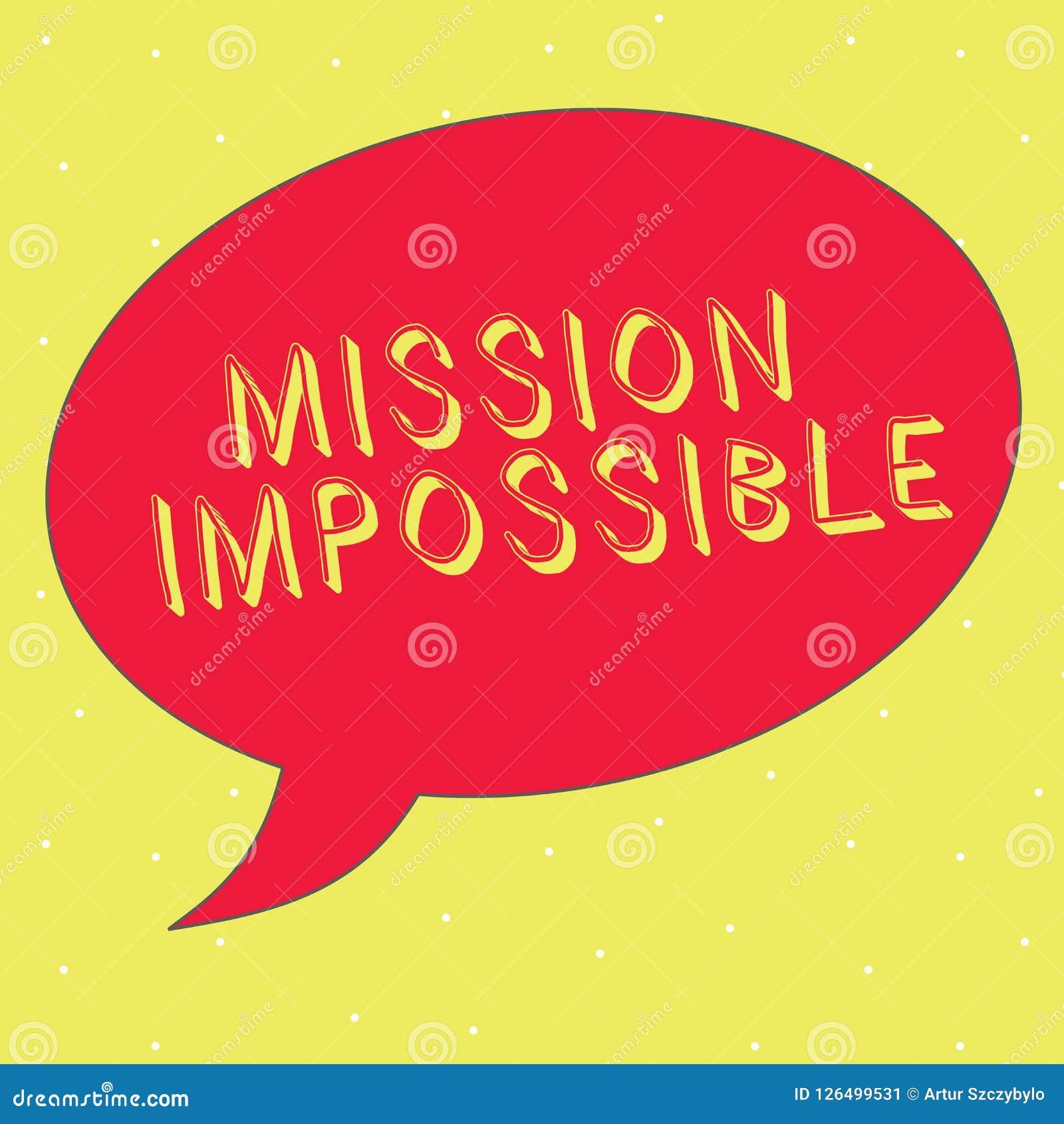 Word het schrijven Onmogelijke tekstopdracht Bedrijfsconcept voor Moeilijke Gevaarlijke Taak Unimaginable Taak