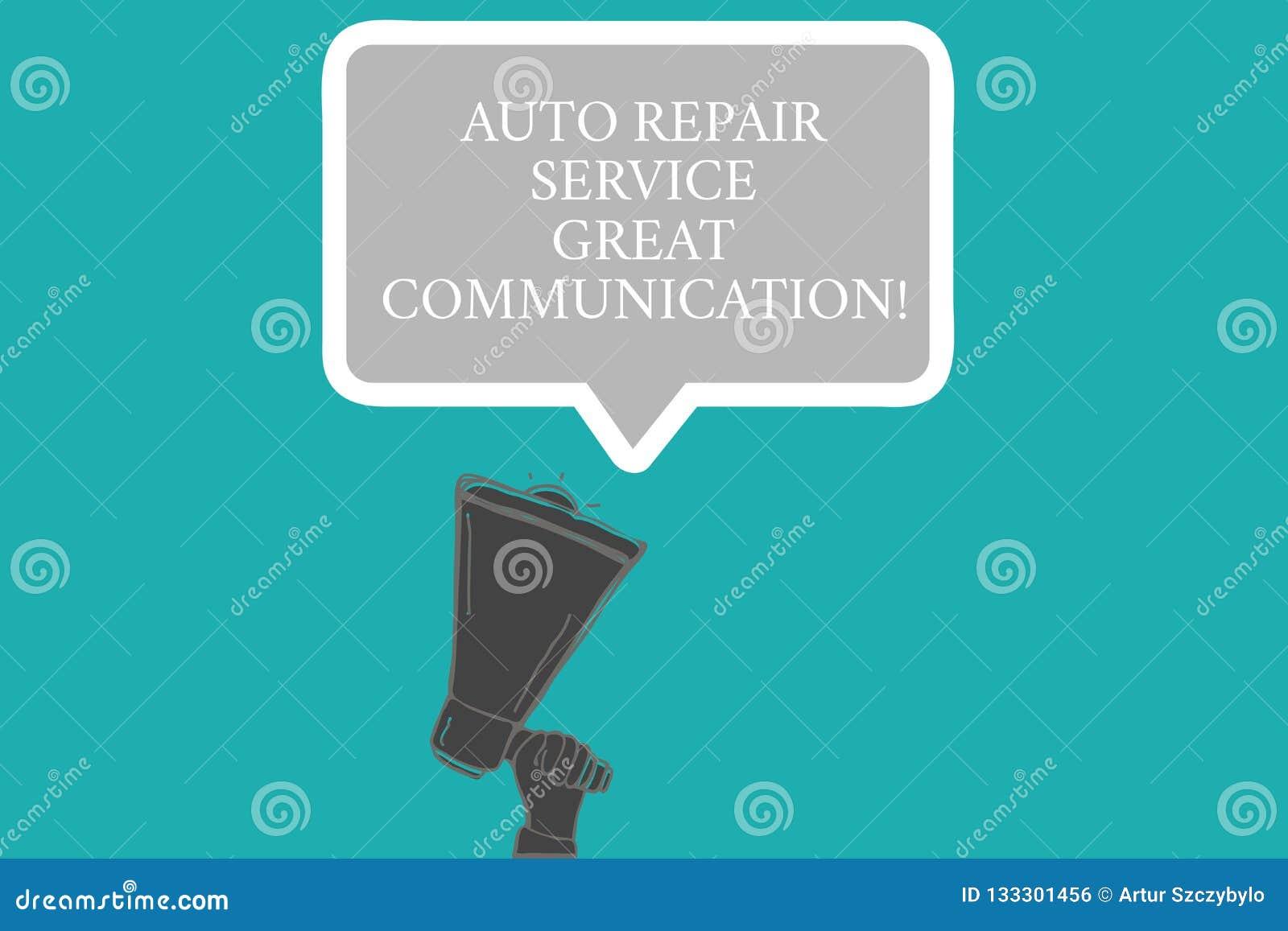 Word het schrijven tekst de Autoreparatiedienst Grote Mededeling Bedrijfsconcept voor de analysehand van HU van de Auto mechanisc
