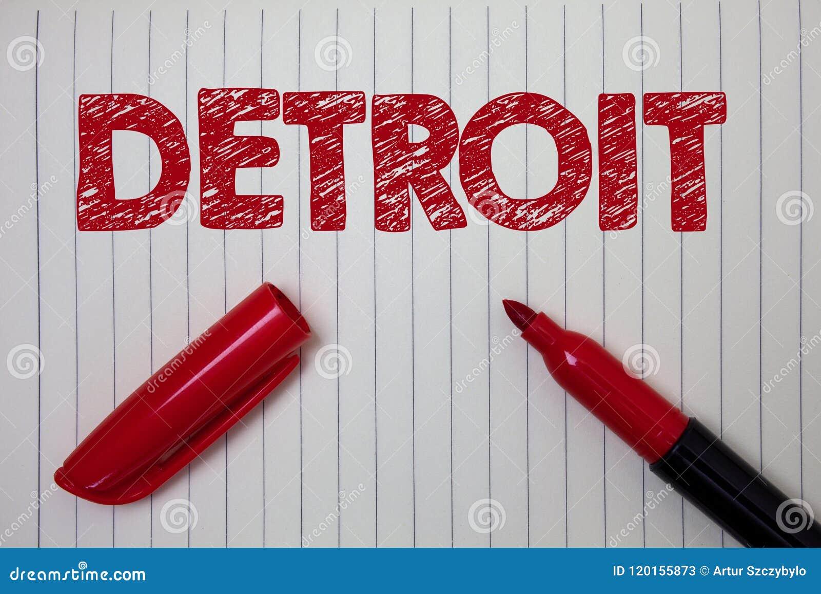 Word het schrijven tekst Detroit Bedrijfsconcept voor Stad in het Kapitaal van de Verenigde Staten van Amerika van het Notitieboe