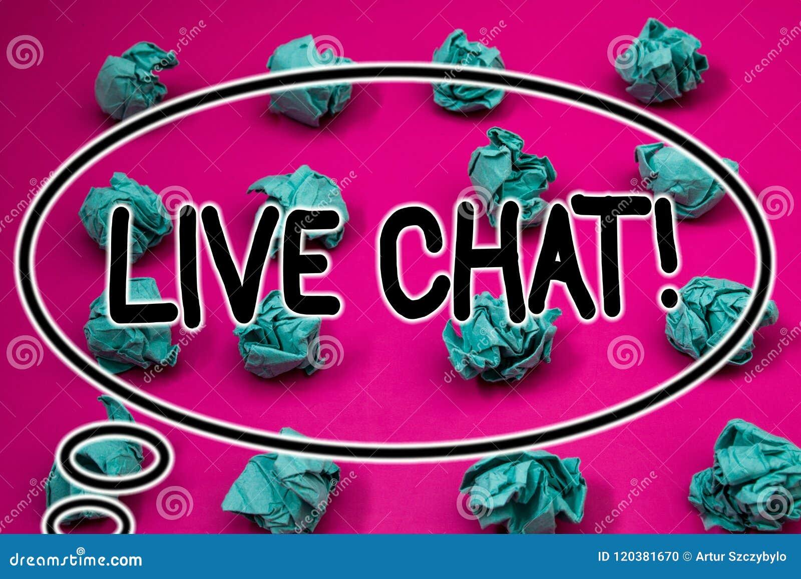 Word het schrijven tekst Live Chat Motivational Call Bedrijfsconcept voor Echt - tijdmedia het gesprek deelt online Verfrommeld d