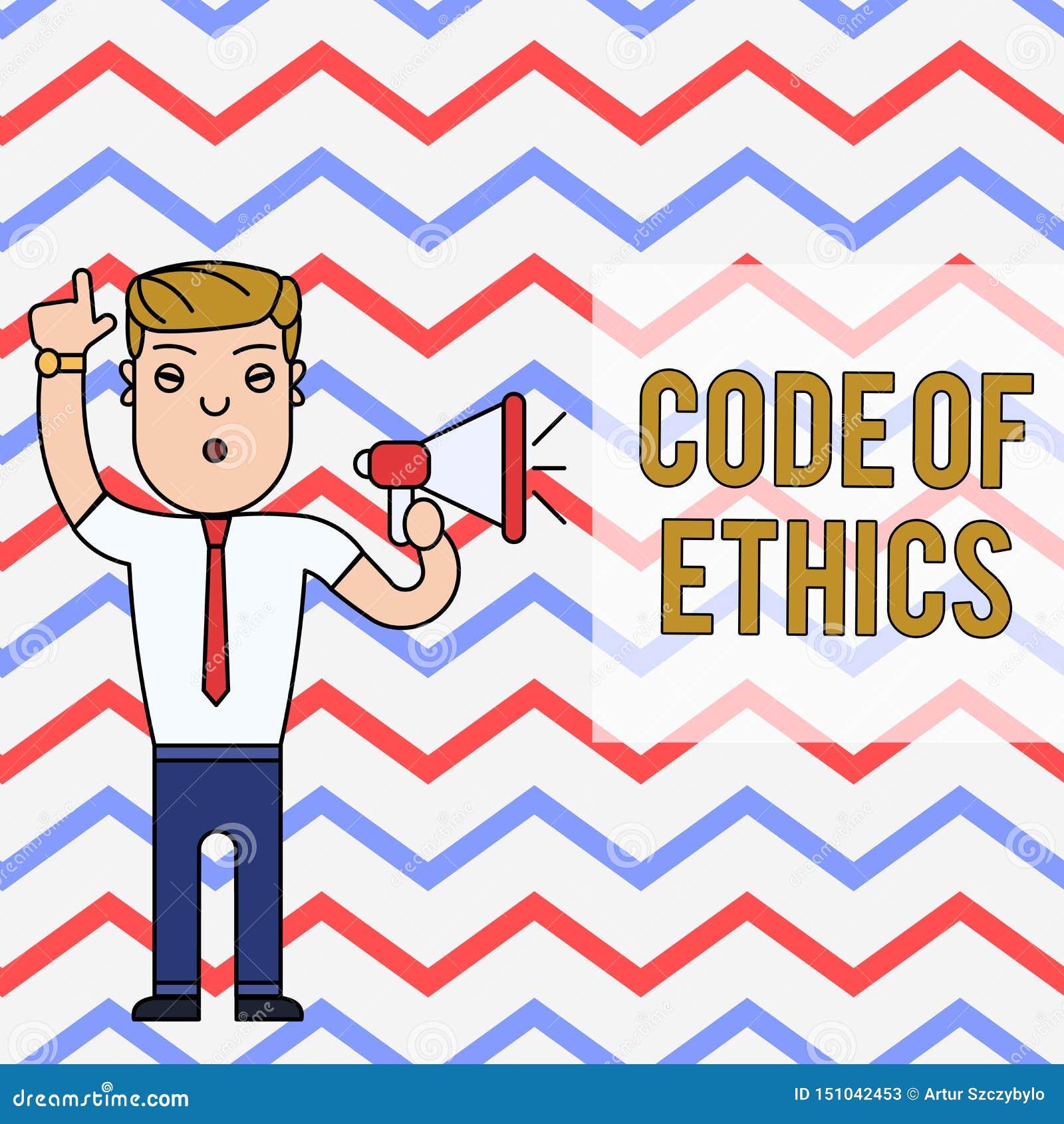 Word het schrijven tekstcode van Ethiek Het bedrijfsconcept voor basisgids voor professioneel gedrag en legt de plichtenmens op
