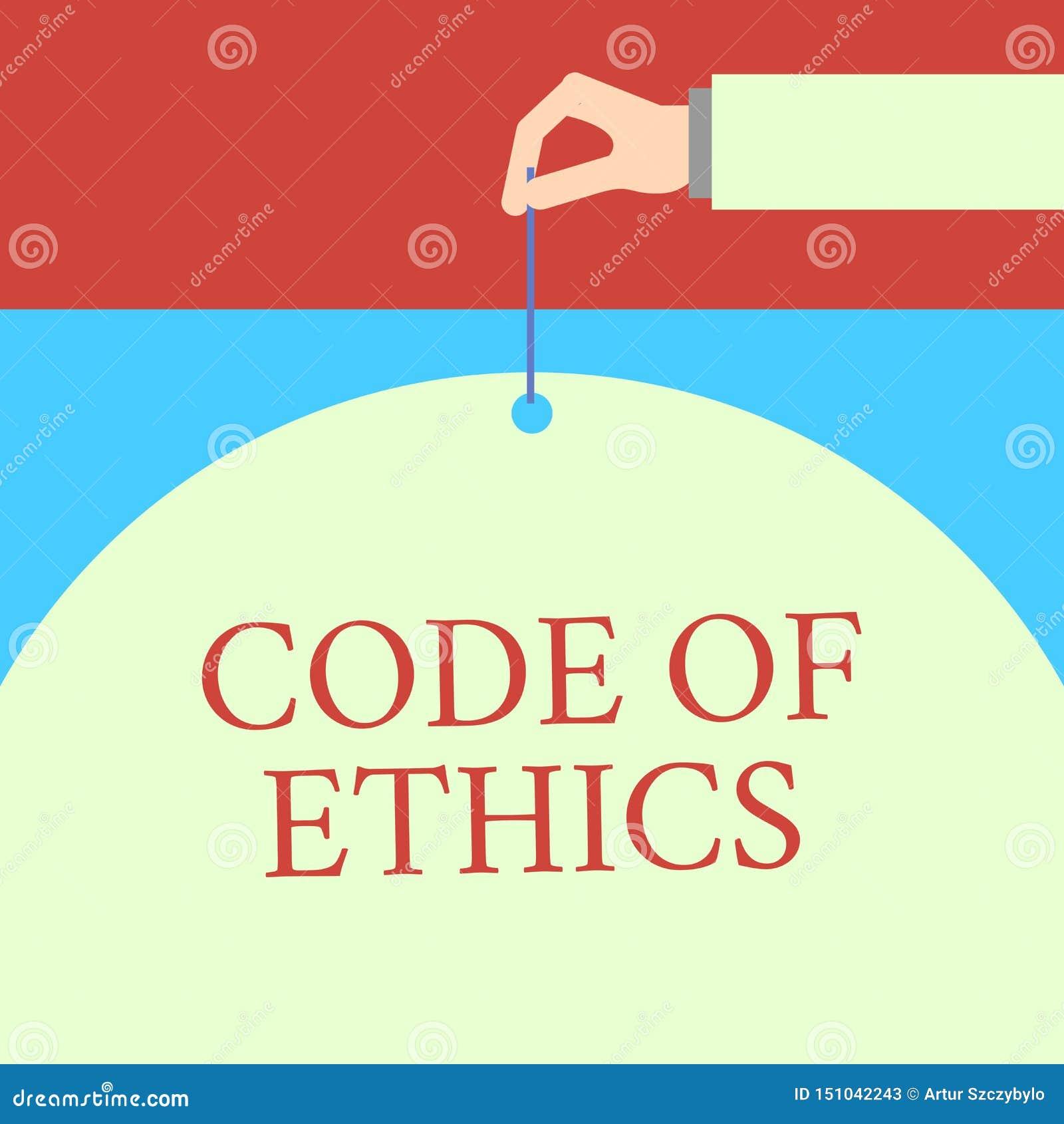 Word het schrijven tekstcode van Ethiek Het bedrijfsconcept voor basisgids voor professioneel gedrag en legt plichten Mannelijke