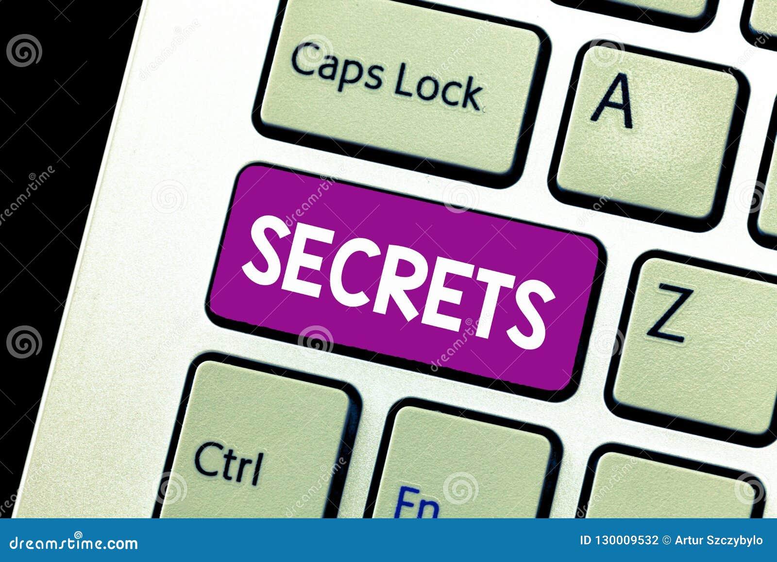 Word het schrijven tekstgeheimen Bedrijfsconcept voor Gehouden door anderen Vertrouwelijke Privé Geclassificeerde Unrevealed onbe