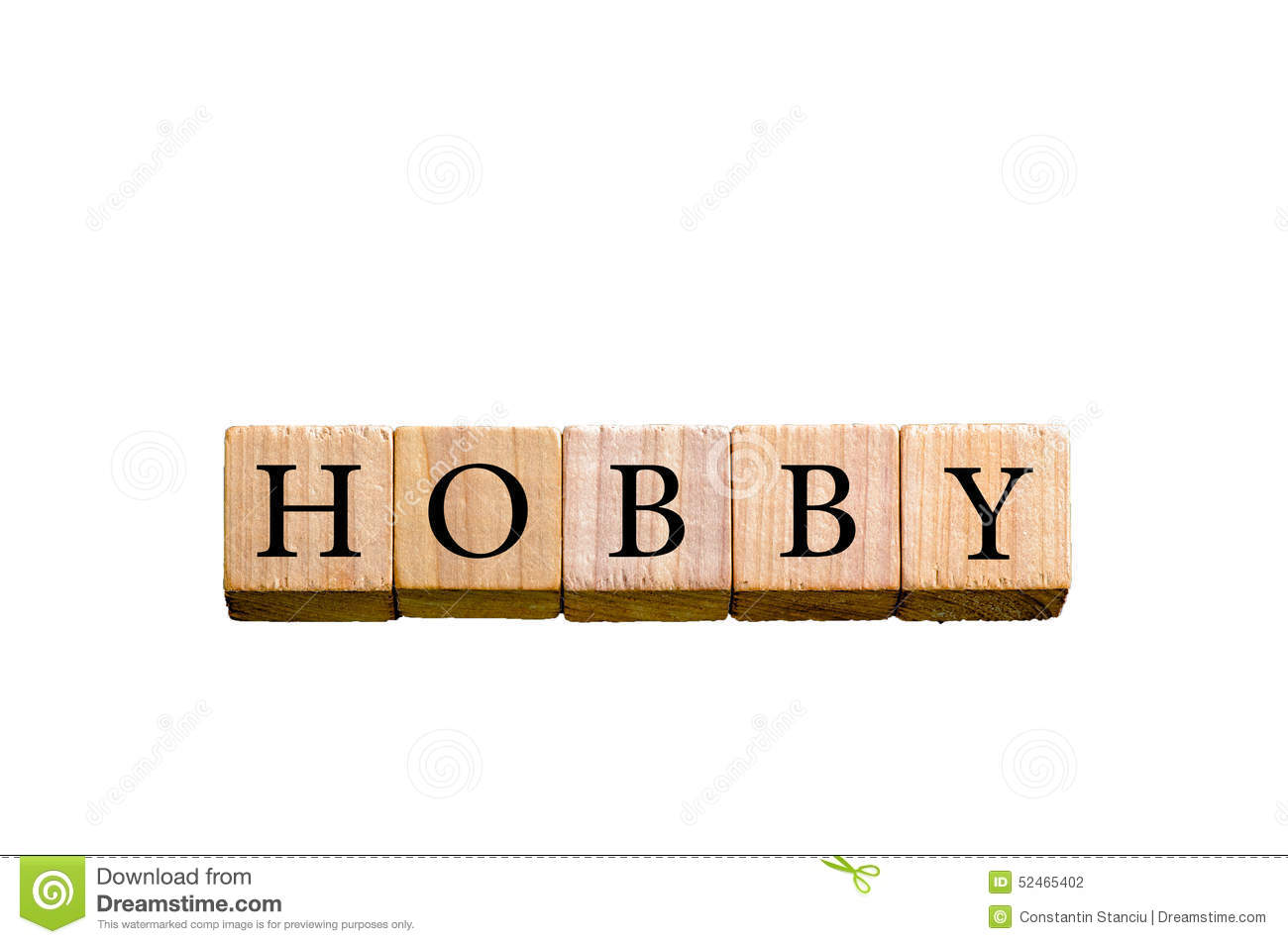 Word HOBBY Isolated On White Background With Copy Space Stock Photo