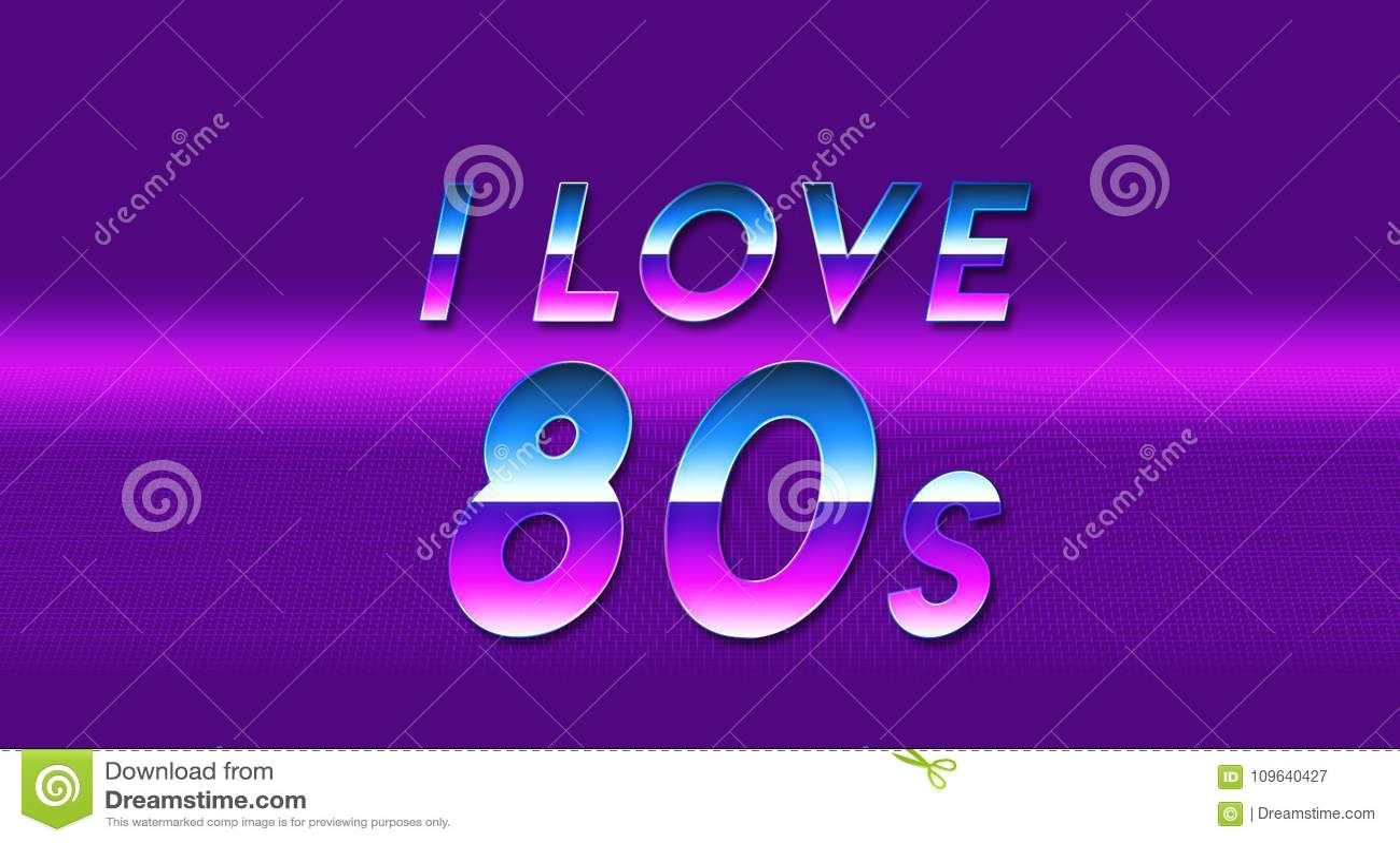 Word I Love The 80s Purple Vaporwave Wallpaper Stock Illustration