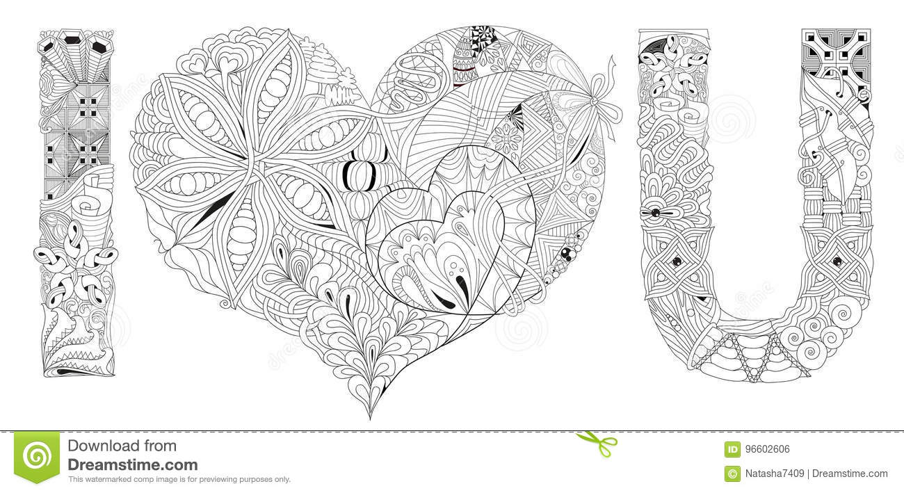 word i love you coloring vector decorative zentangle object hand painted art design adult anti stress page black white