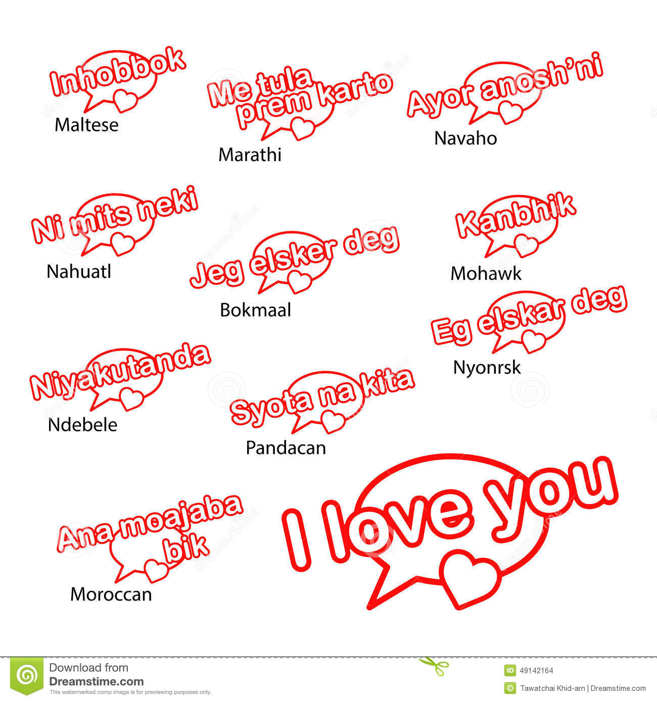 Word I Love You In Different Languages Love Concept