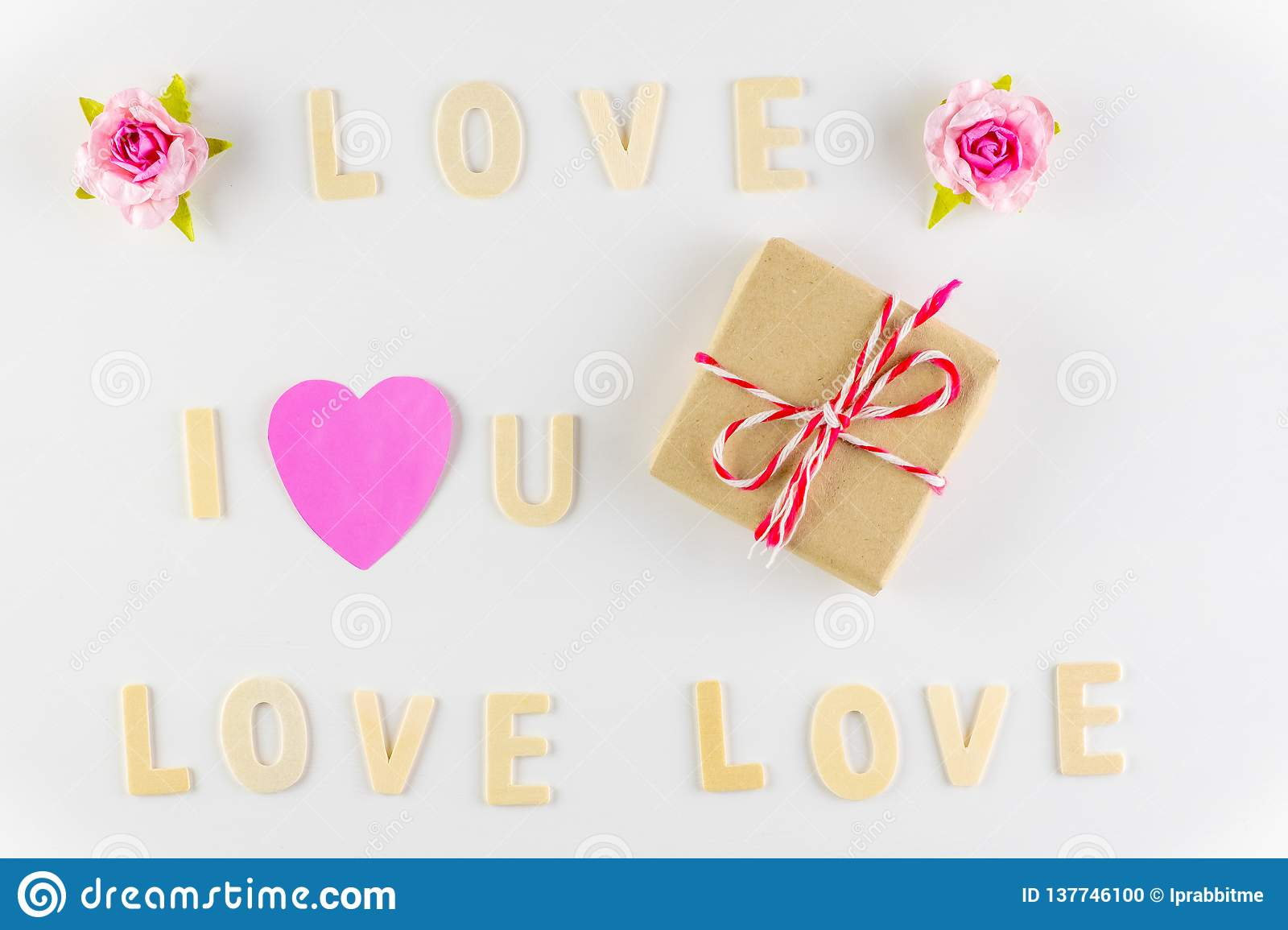 Word `I love You` and `love` on white background with space for text, Love icon, valentine`s day