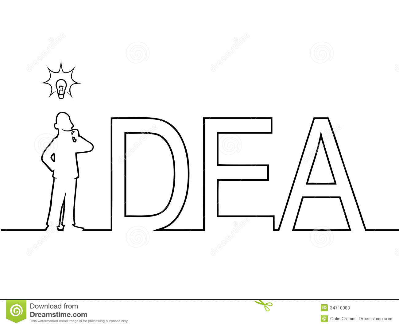 Line Art Word : The word idea with a man standing in it stock vector