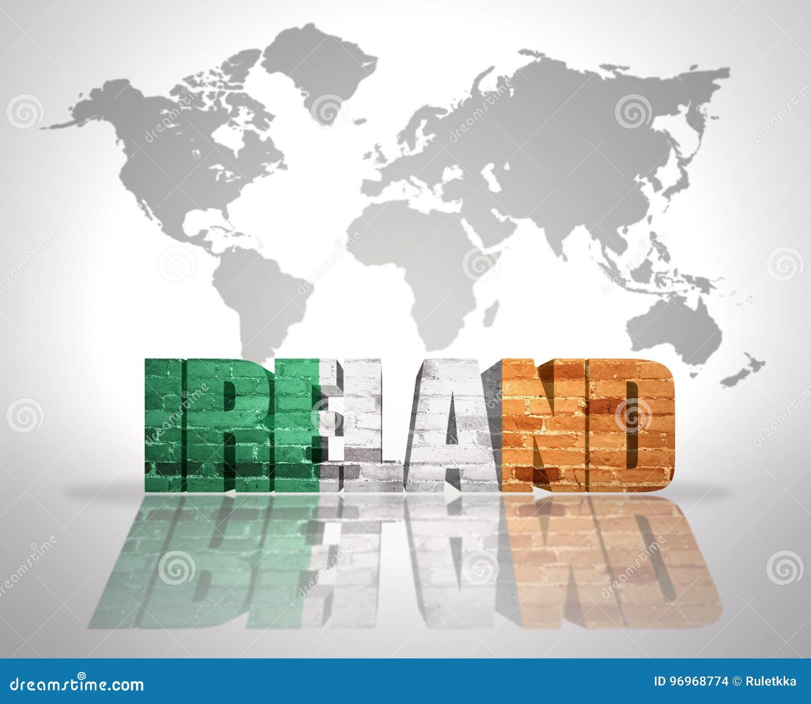 Word Ireland On A World Map Background Stock Illustration ...