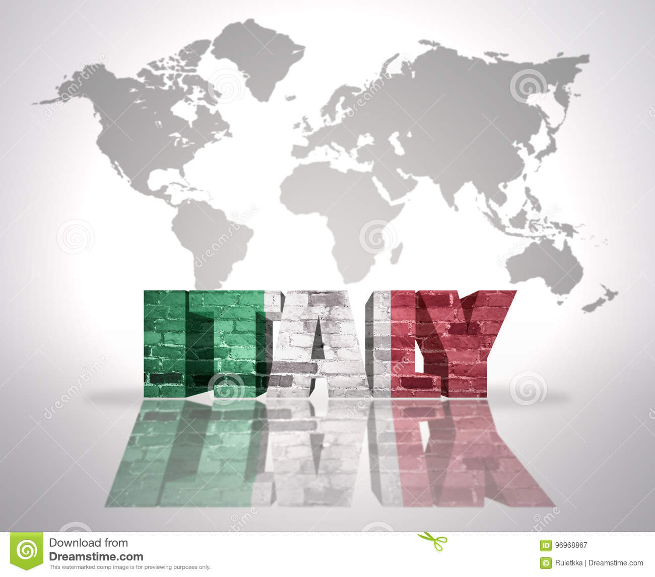Italy On Map Of World.Word Italy On A World Map Background Stock Illustration